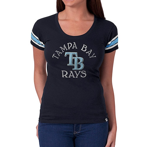 Tampa Bay Rays '47 Women's Off Campus IV Logo Center T-Shirt - Navy