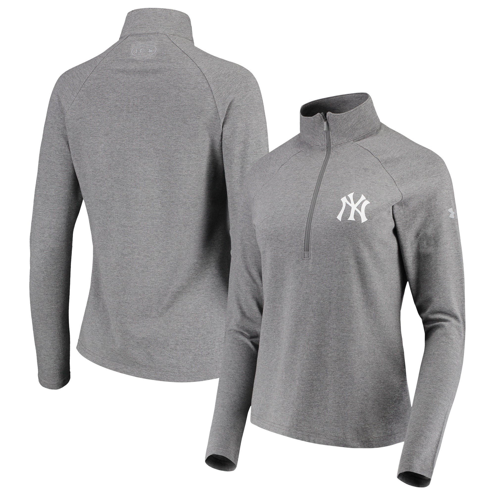 New York Yankees Under Armour Women's Passion Performance Tri-Blend Raglan Half-Zip Pullover Jacket - Heathered Gray