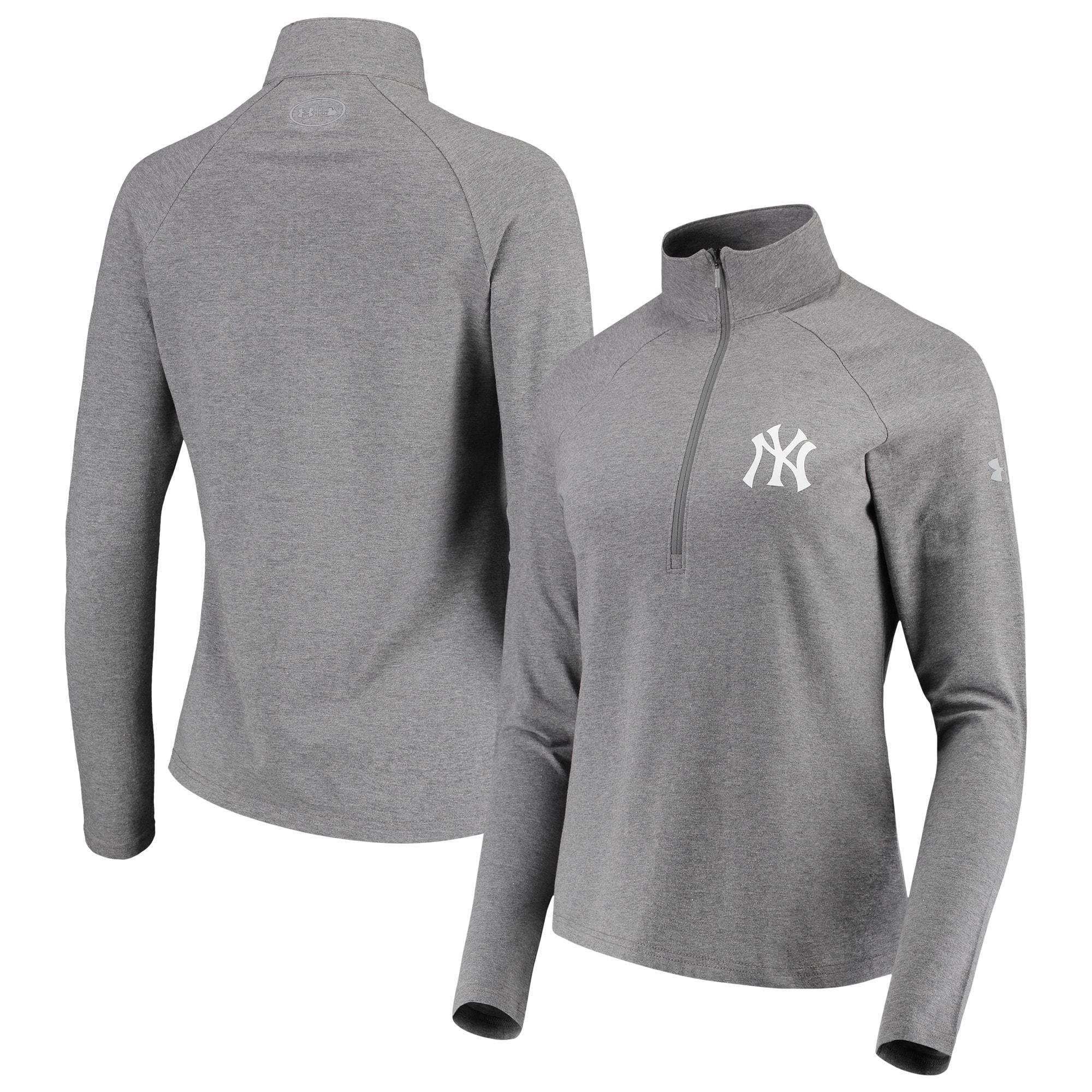 New York Yankees Under Armour Women's Passion Performance Tri-Blend Raglan Half-Zip Pullover Jacket - Heathered Gray