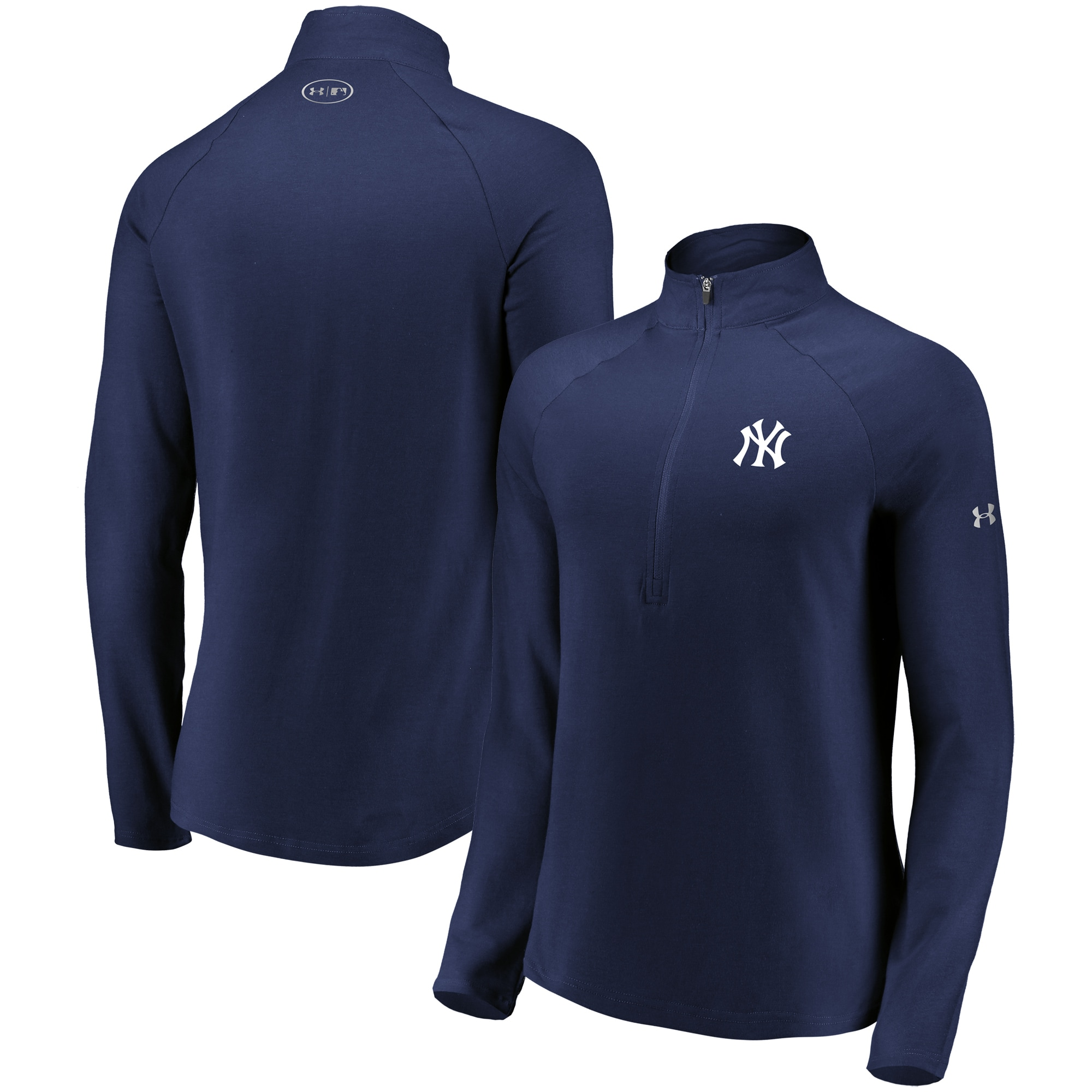 New York Yankees Under Armour Women's Passion Performance Tri-Blend Raglan Half-Zip Pullover Jacket - Navy