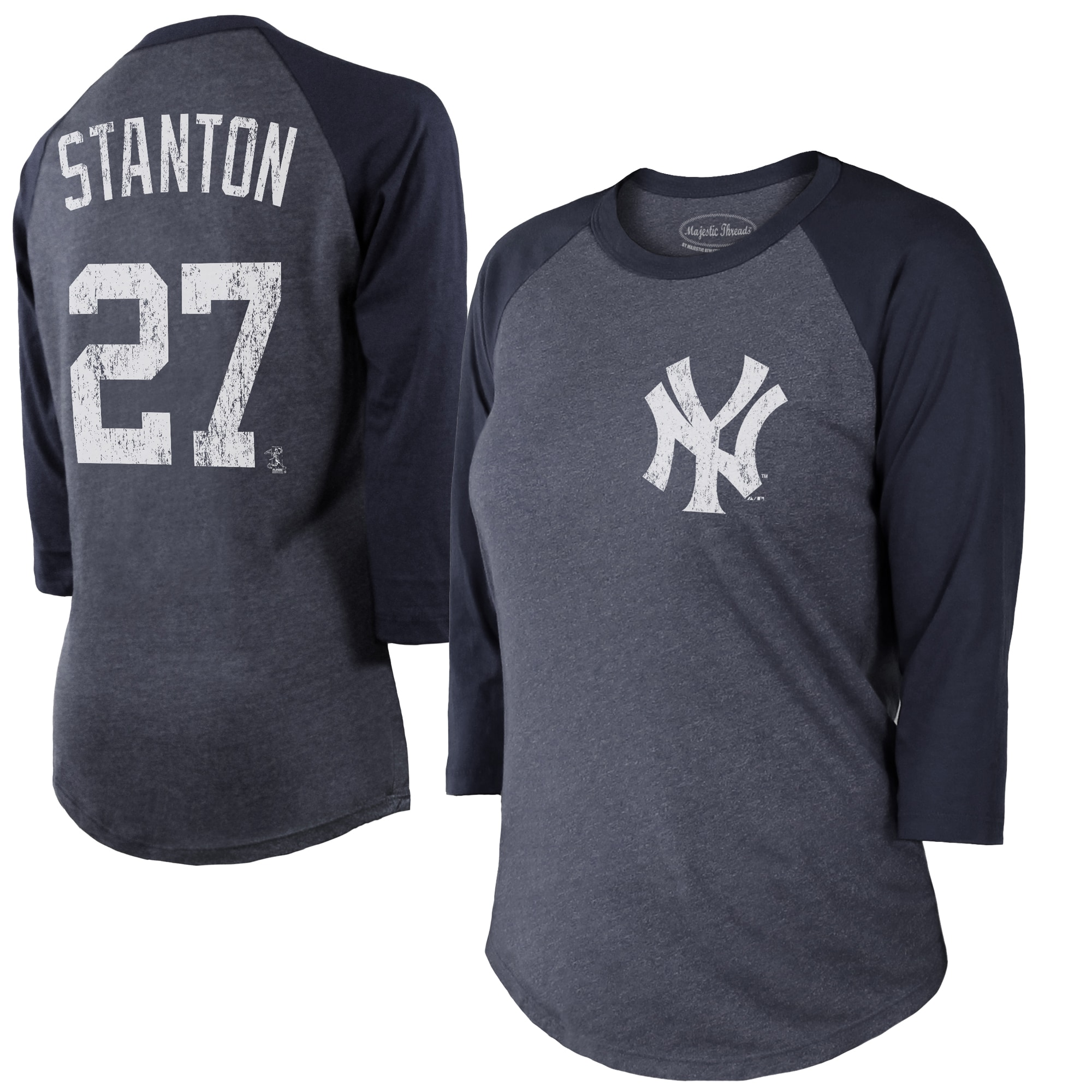 Giancarlo Stanton New York Yankees Majestic Threads Women's Name & Number 3/4 Sleeve Raglan T-Shirt - Navy