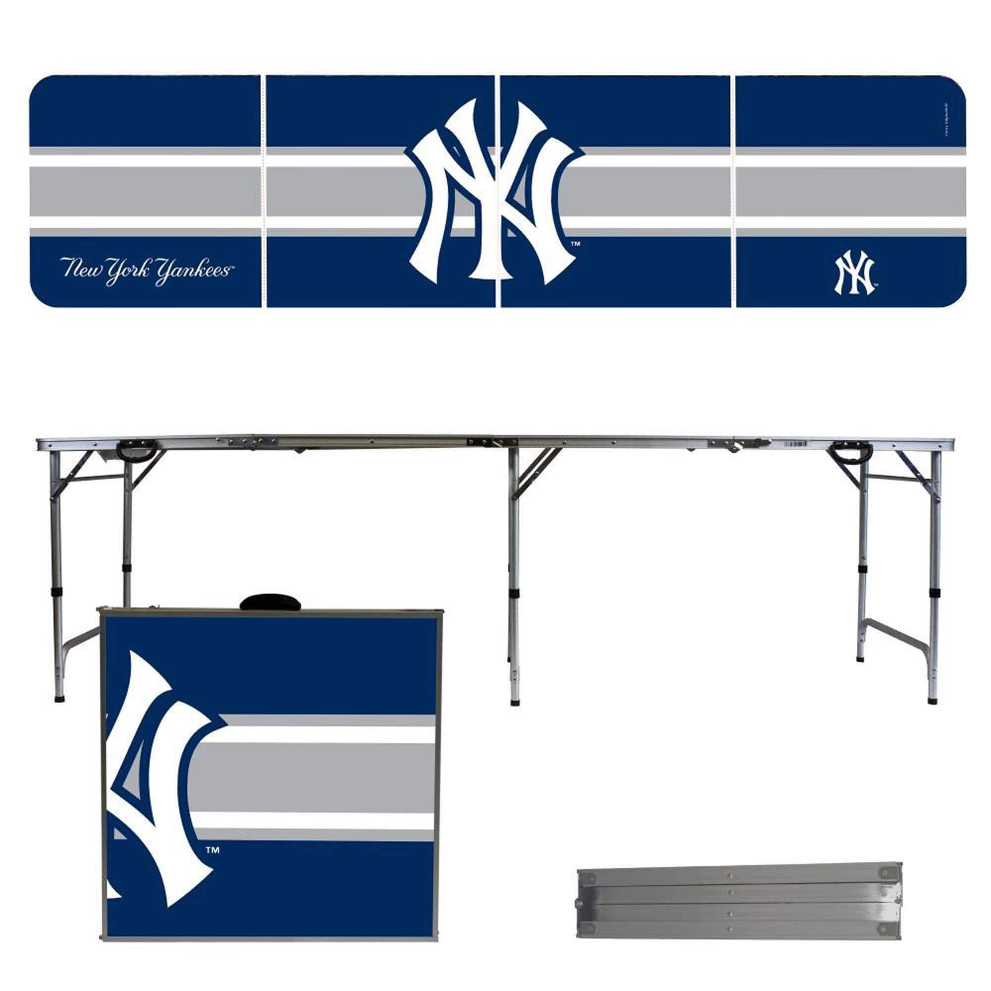 New York Yankees Striped Design 8' Portable Folding Tailgate Table