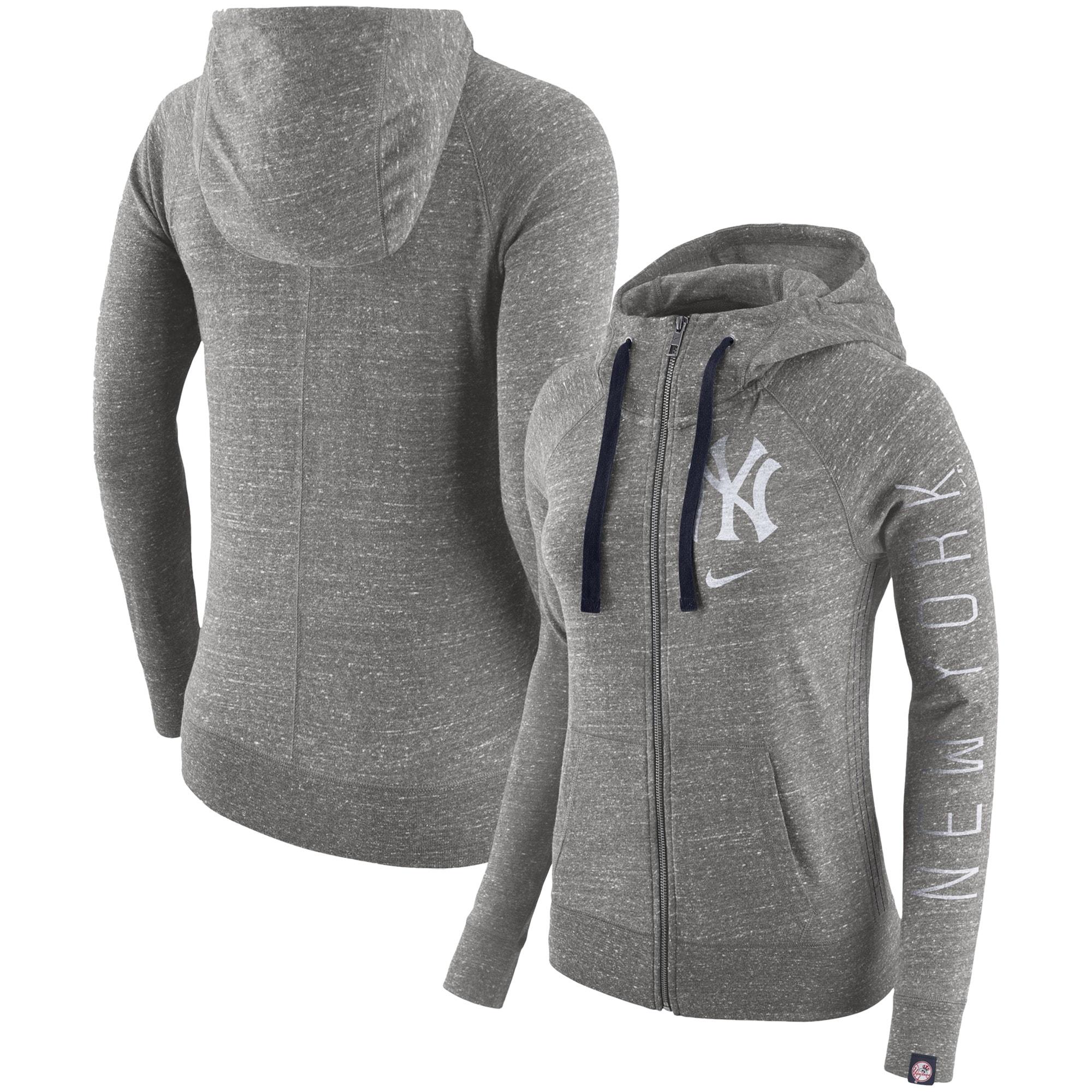 New York Yankees Nike Women's Vintage Full-Zip Hoodie - Gray