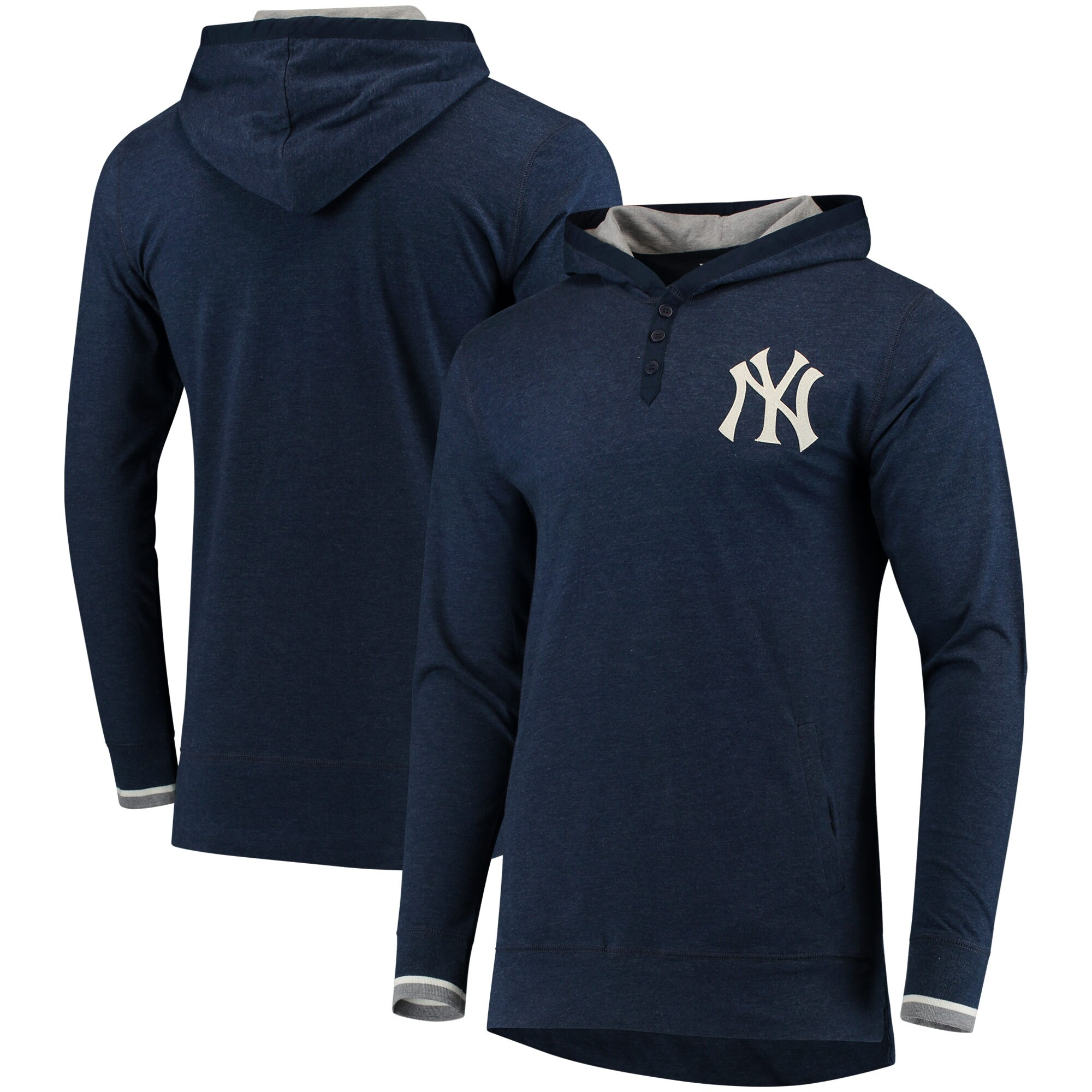 New York Yankees Mitchell & Ness Seal The Win Long Sleeve Hoodie T-Shirt - Navy