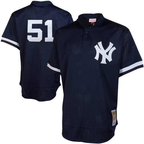 Bernie Williams New York Yankees Mitchell & Ness Cooperstown Mesh Batting Practice Jersey - Navy