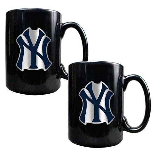 New York Yankees 15oz. Coffee Mug Set - Black