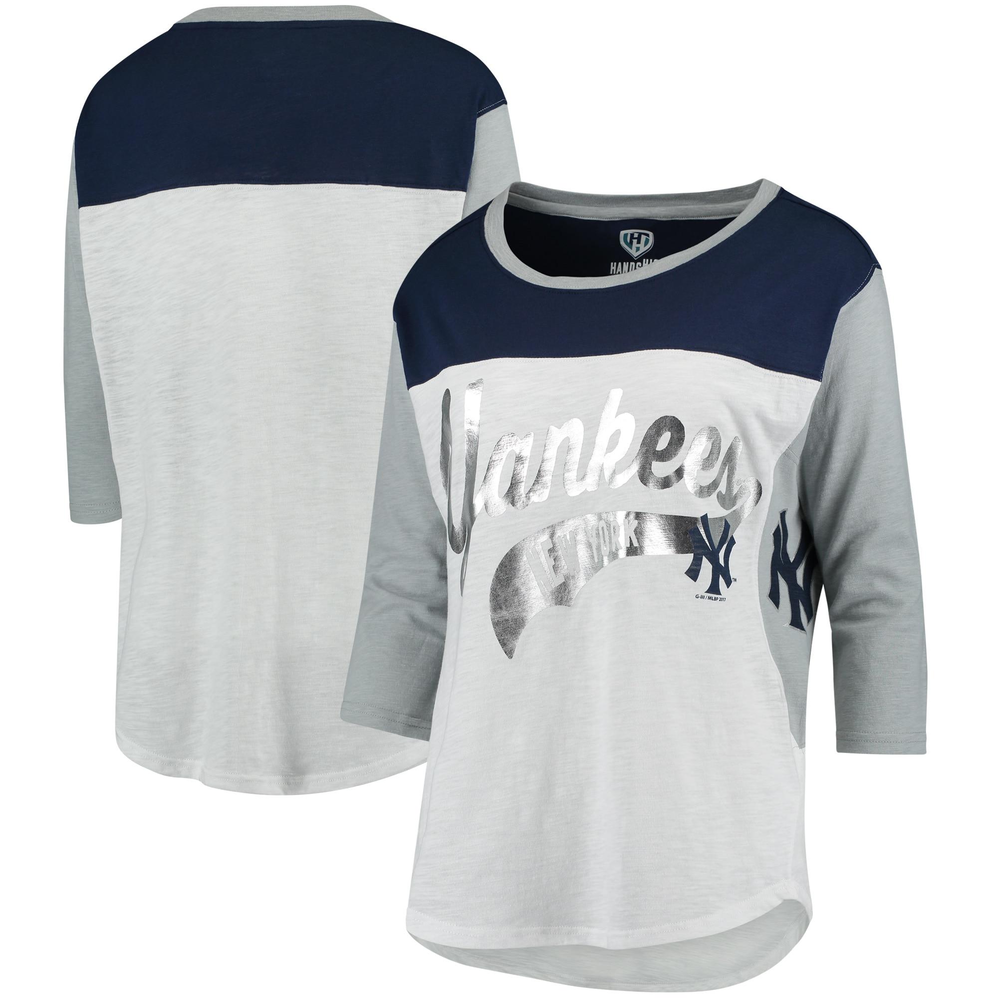 New York Yankees Hands High Women's Season's Pass 3/4 Sleeve T-Shirt - White