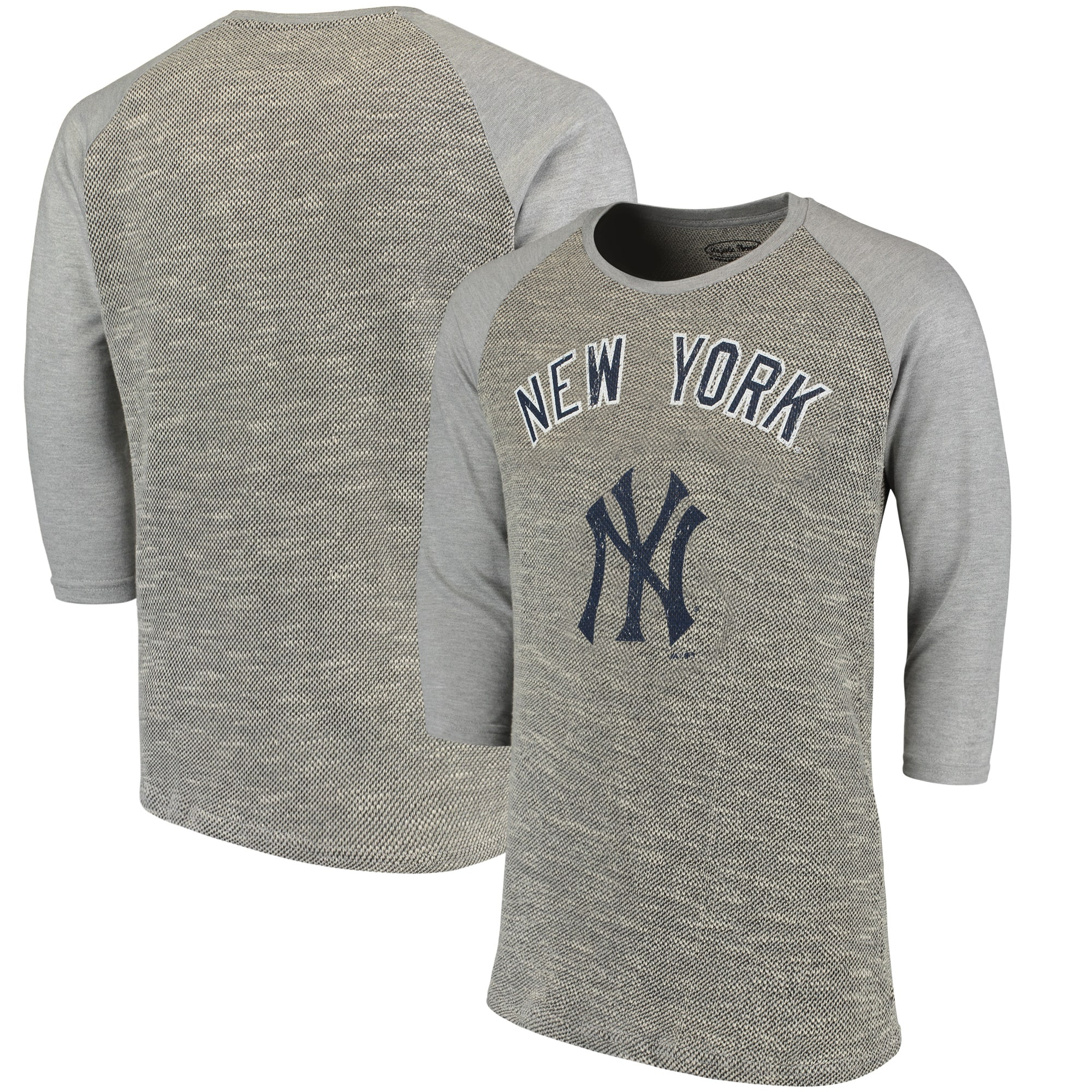 New York Yankees Majestic Threads Tri-Yarn French Terry 3/4-Sleeve Raglan T-Shirt - Gray