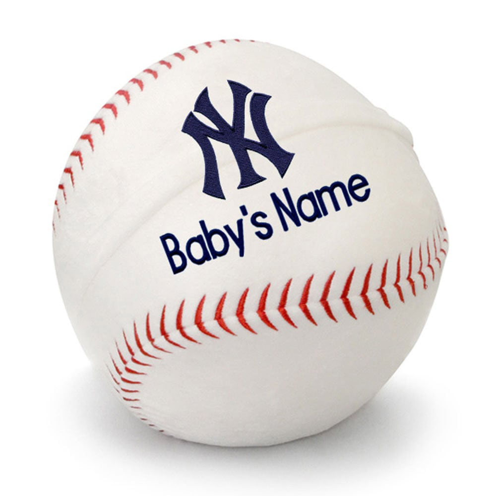 New York Yankees Personalized Plush Baby Baseball - White