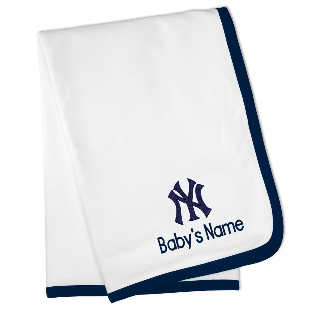 New York Yankees Personalized Baby Blanket - White