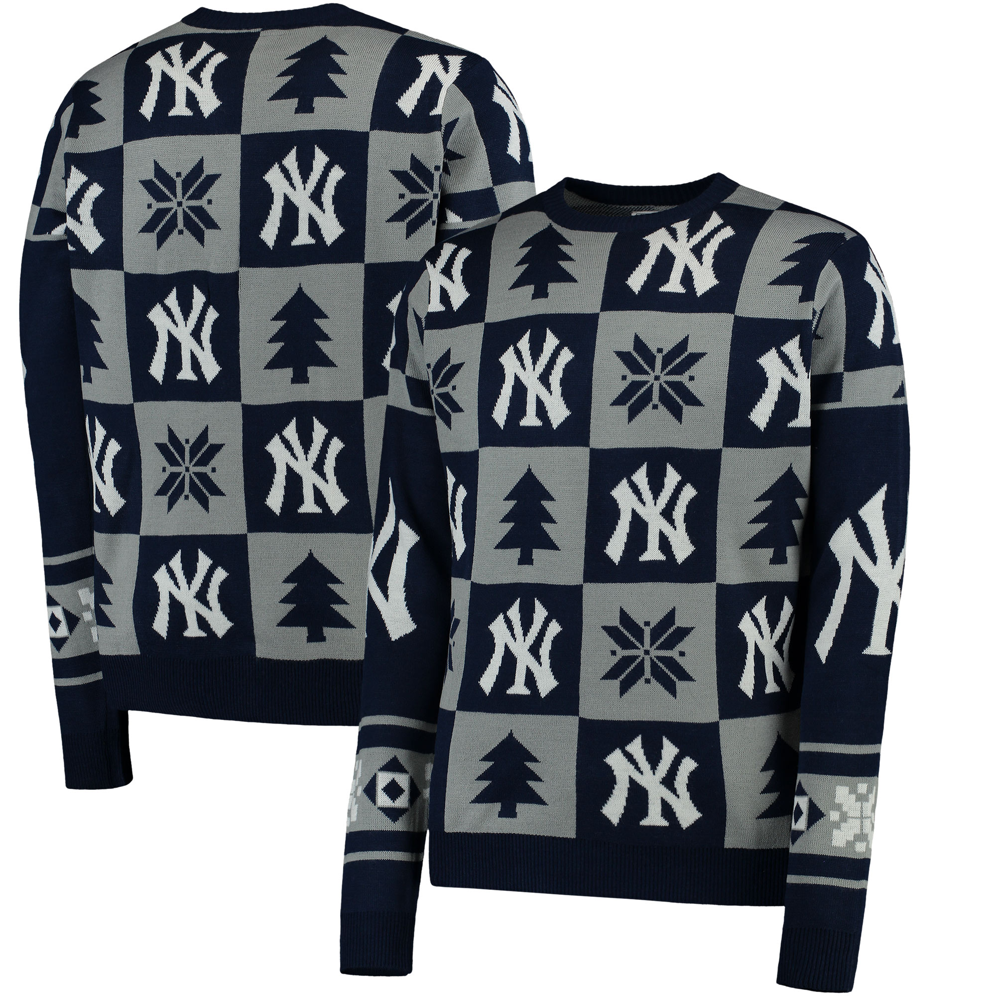 New York Yankees Patches Ugly Pullover Sweater - Navy