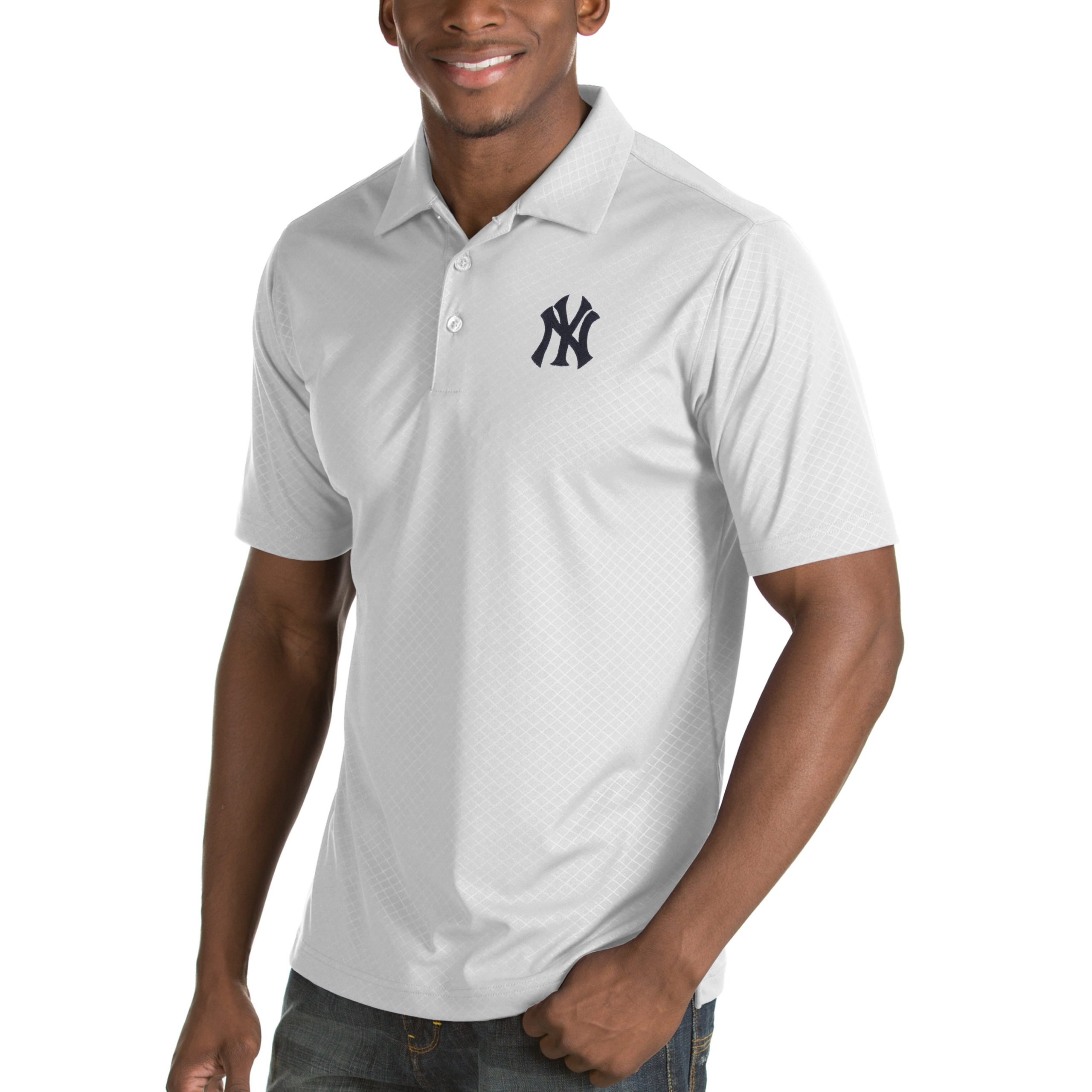 New York Yankees Antigua Inspire Desert Dry Polo - White