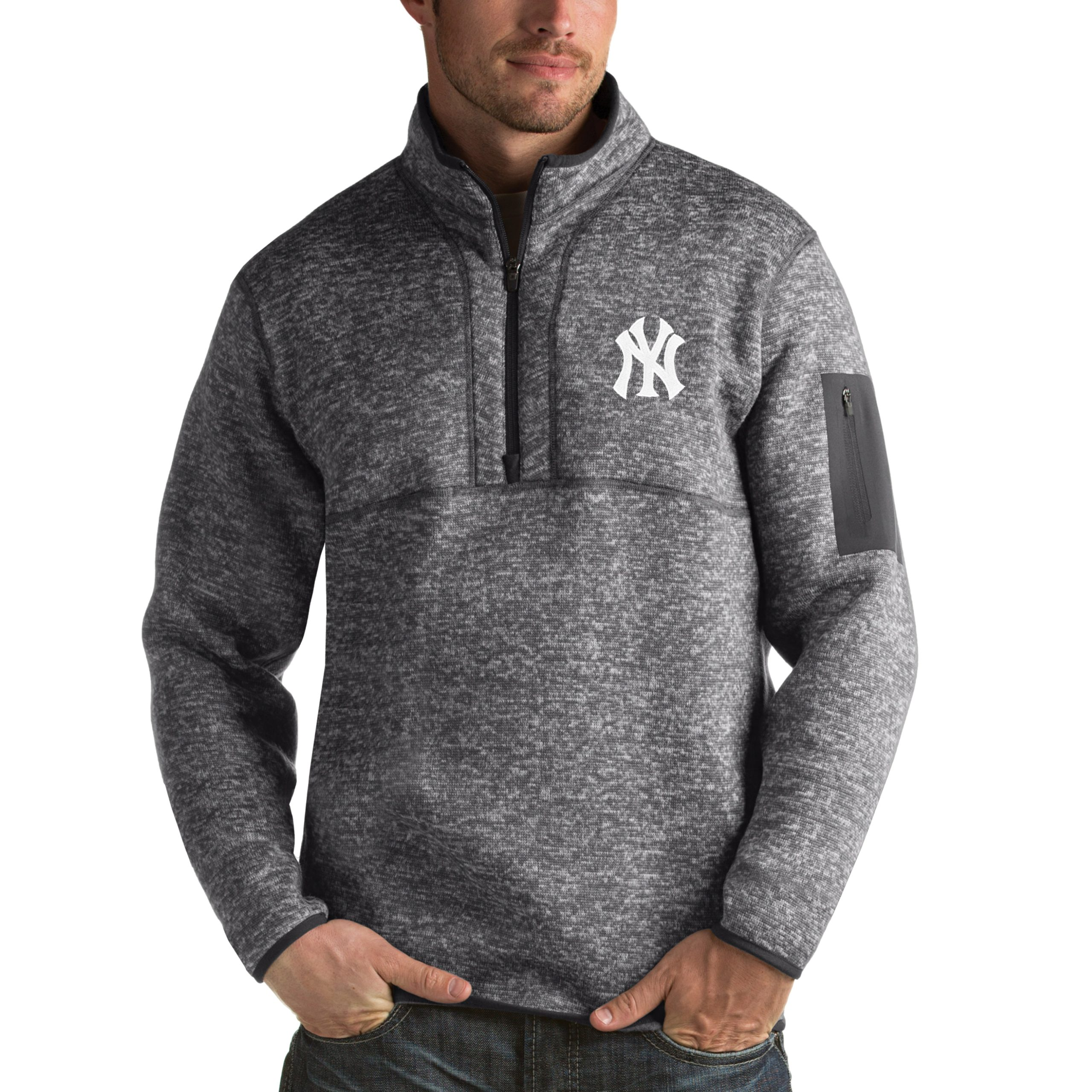 New York Yankees Antigua Fortune Half-Zip Sweater - Heathered Charcoal