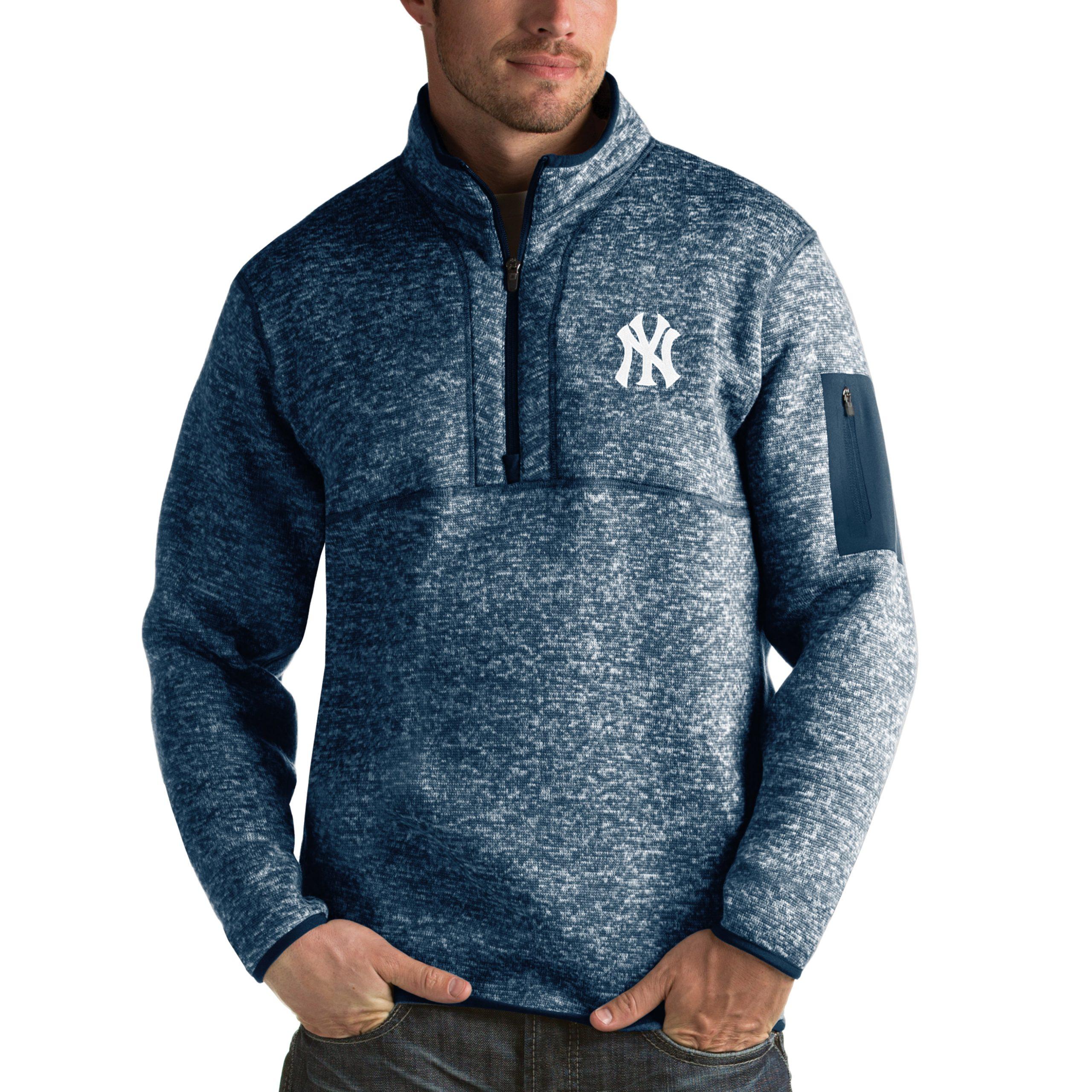 New York Yankees Antigua Fortune Half-Zip Sweater - Heathered Navy