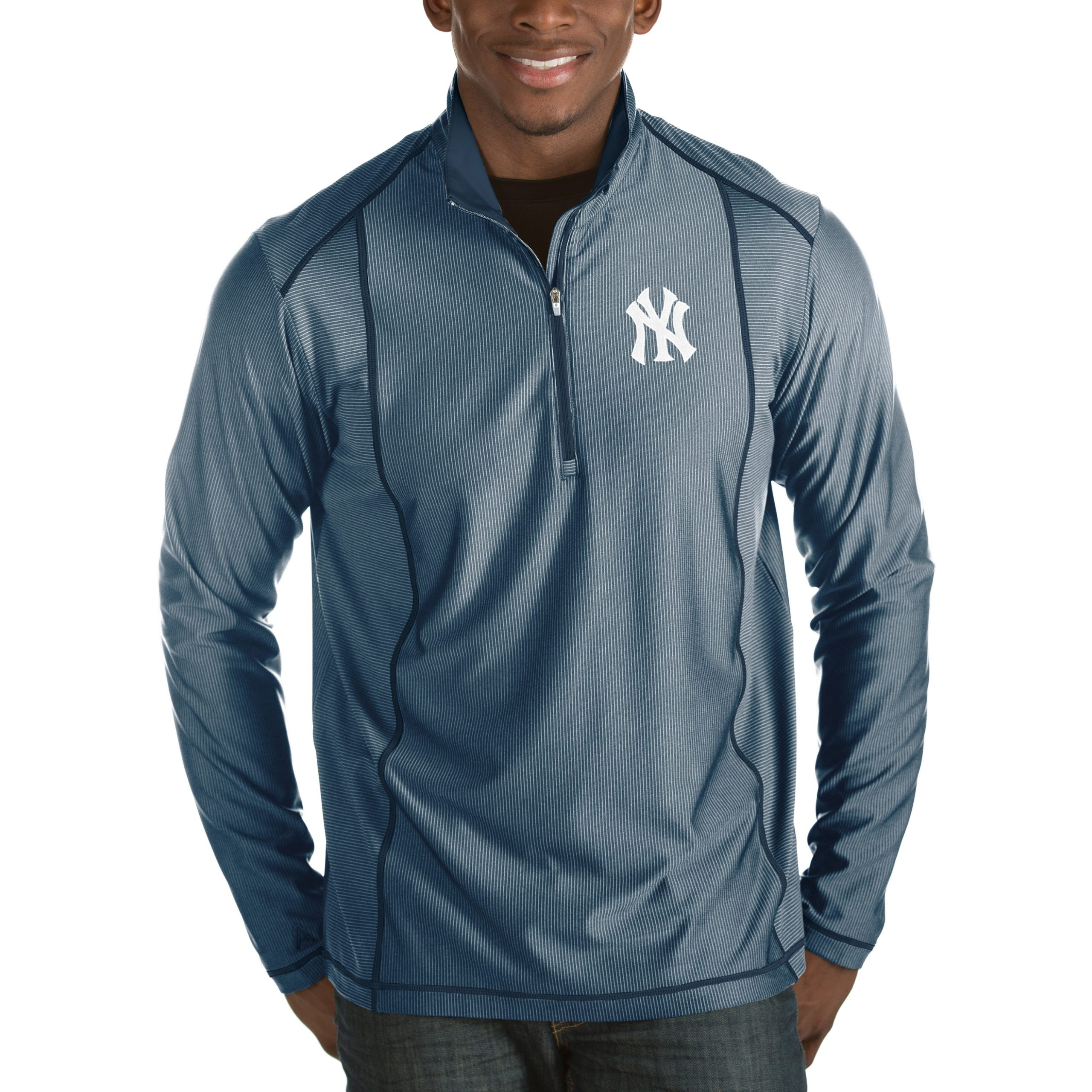 New York Yankees Antigua Tempo Half-Zip Pullover Jacket - Heathered Navy