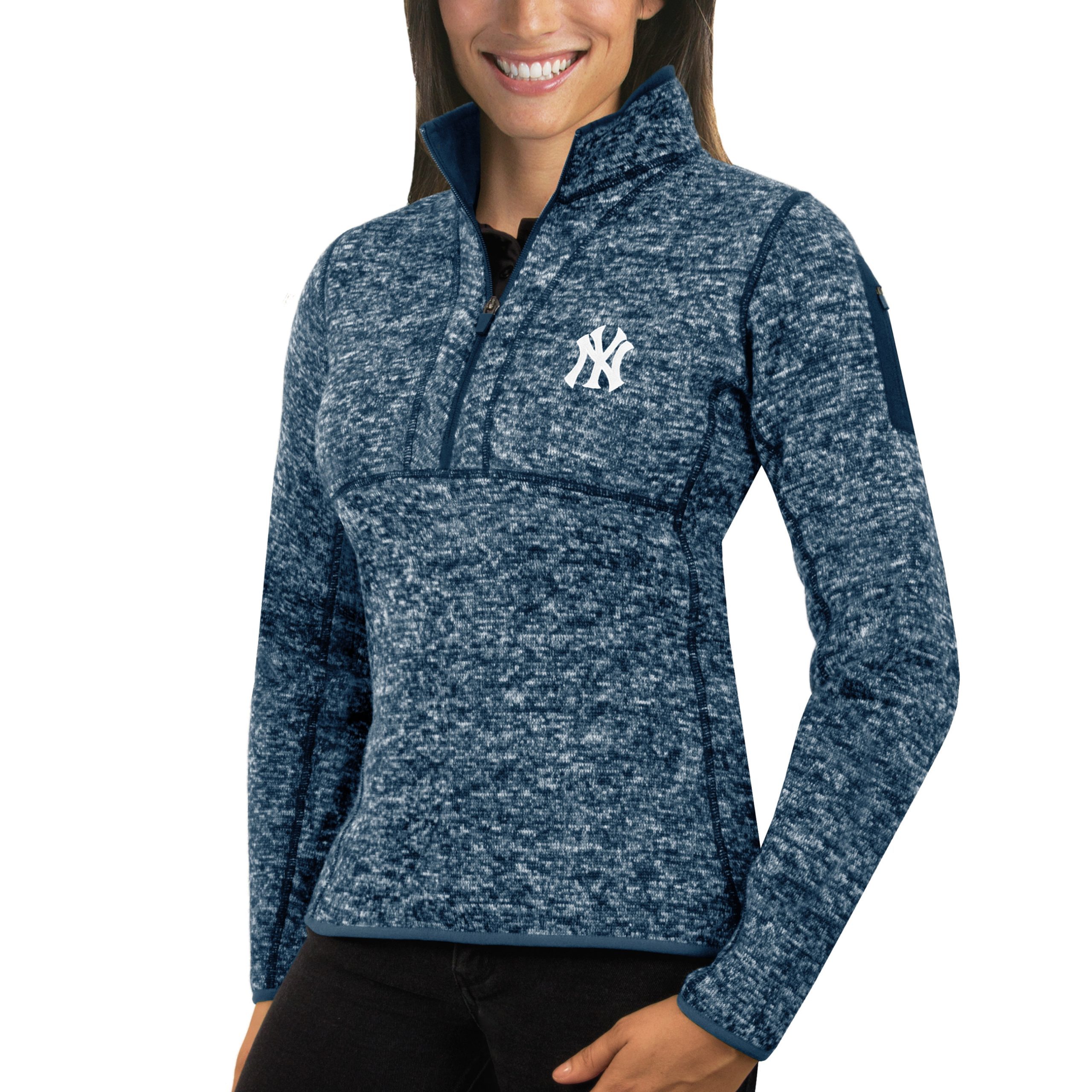 New York Yankees Antigua Women's Fortune Half-Zip Pullover Sweater - Heathered Navy