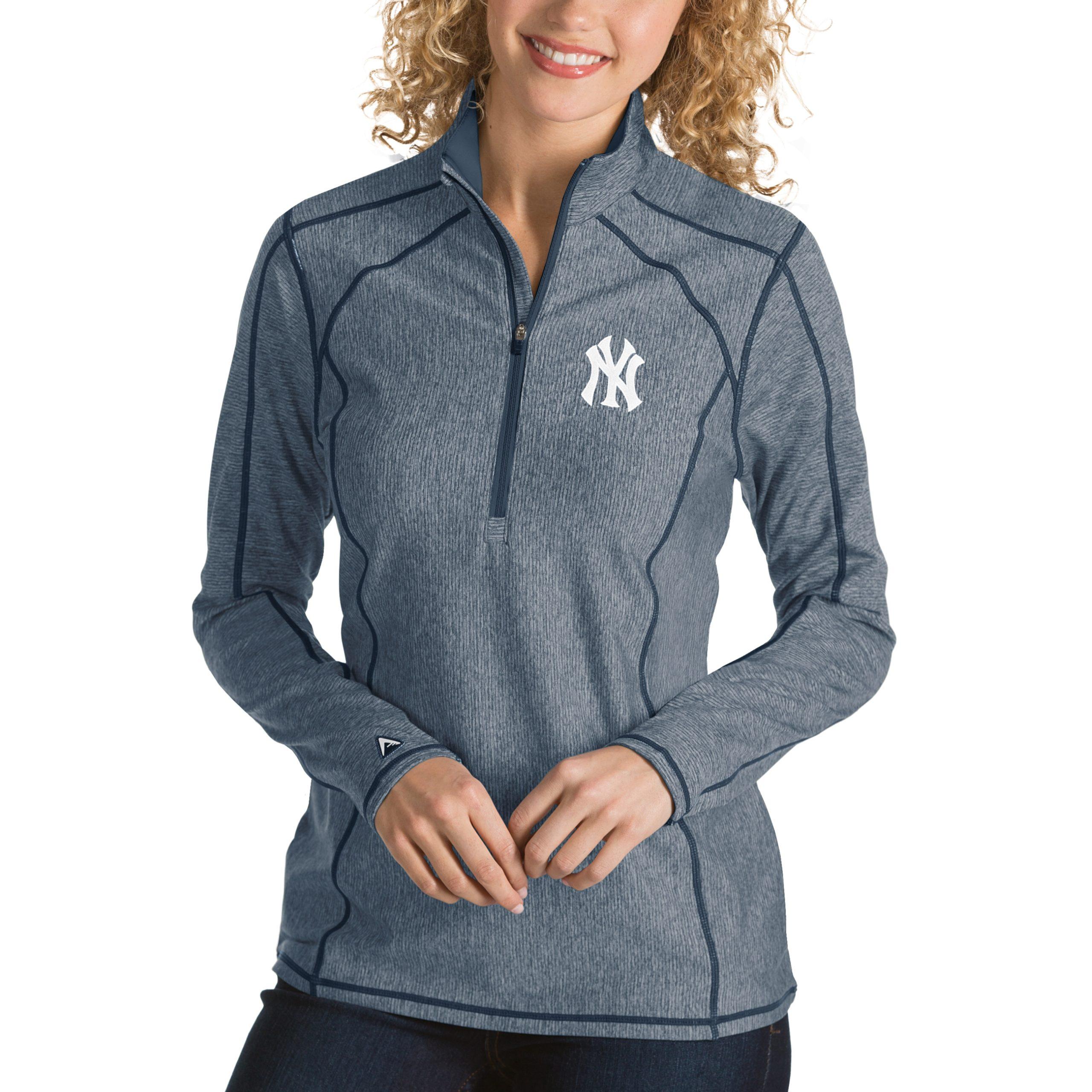 New York Yankees Antigua Women's Tempo Desert Dry 1/4-Zip Pullover Jacket - Heathered Navy