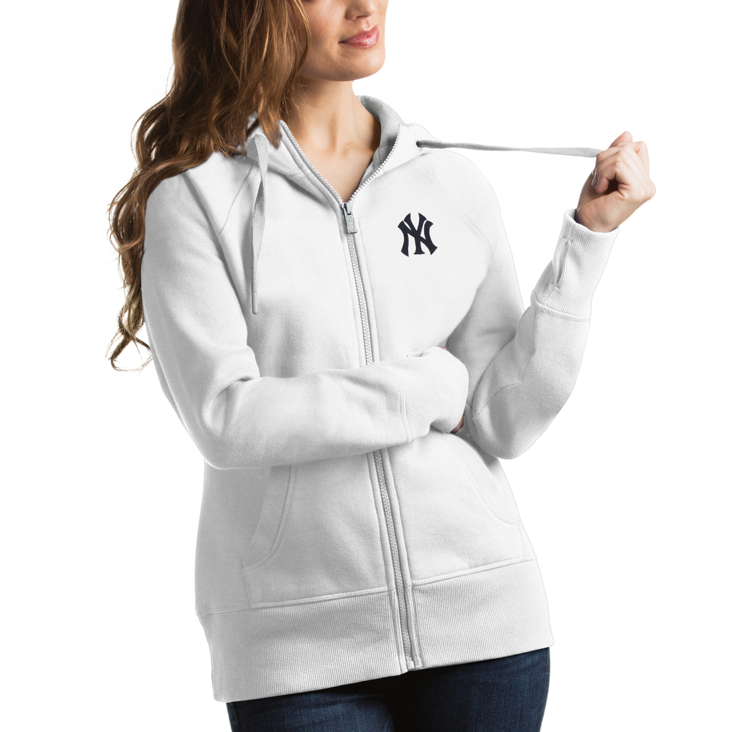 New York Yankees Antigua Women's Victory Full-Zip Hoodie - White