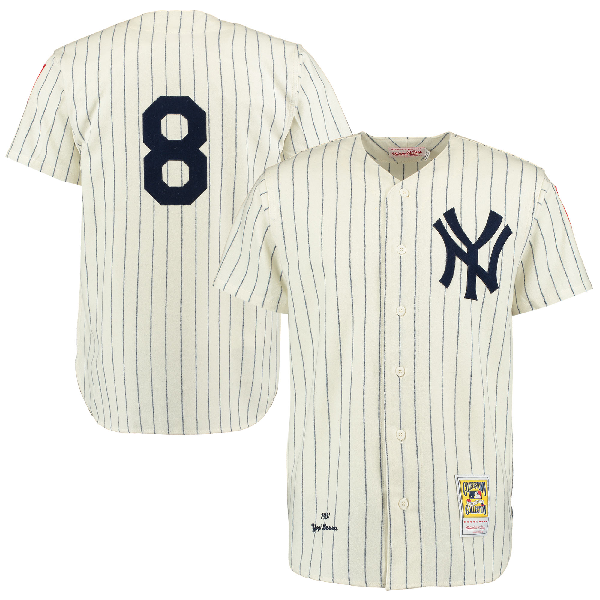 Yogi Berra New York Yankees Mitchell & Ness Throwback 1951 Authentic Jersey - Cream/Navy