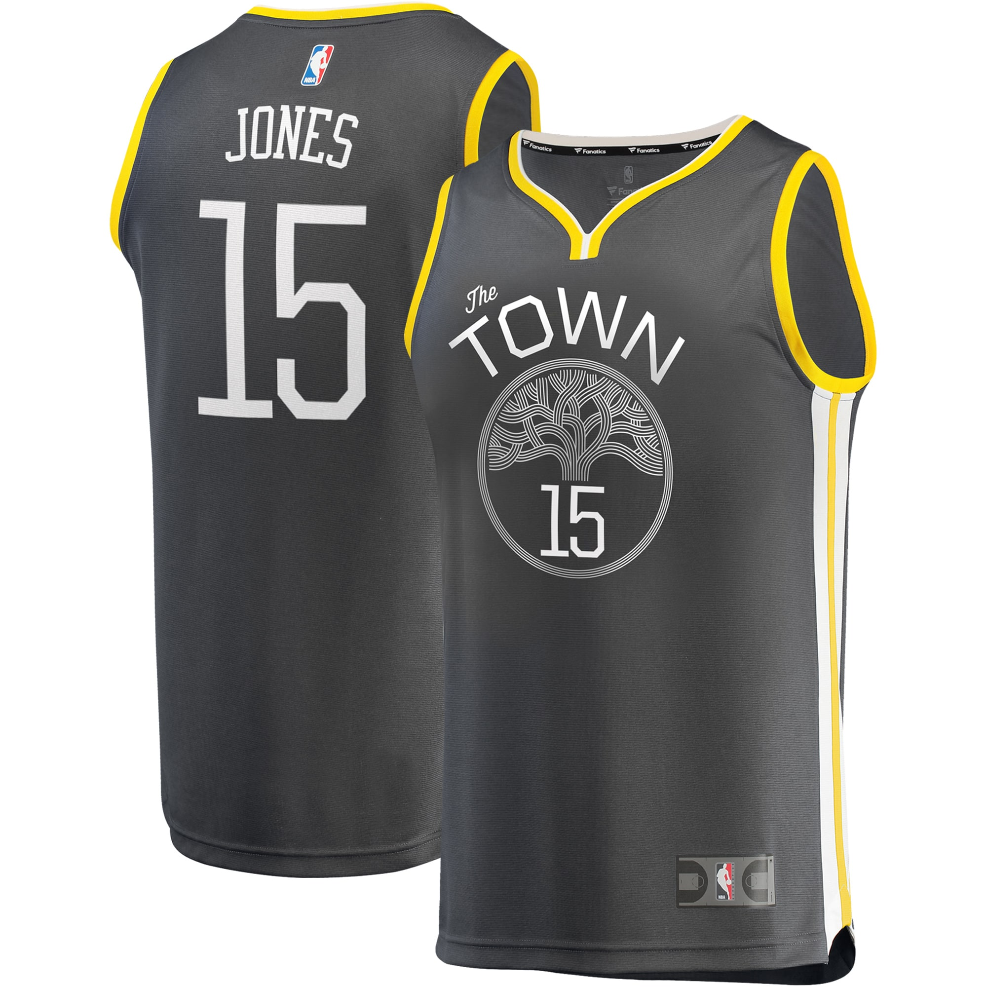 Damian Jones Golden State Warriors Fanatics Branded Fast Break Replica Player Jersey Charcoal - Statement Edition