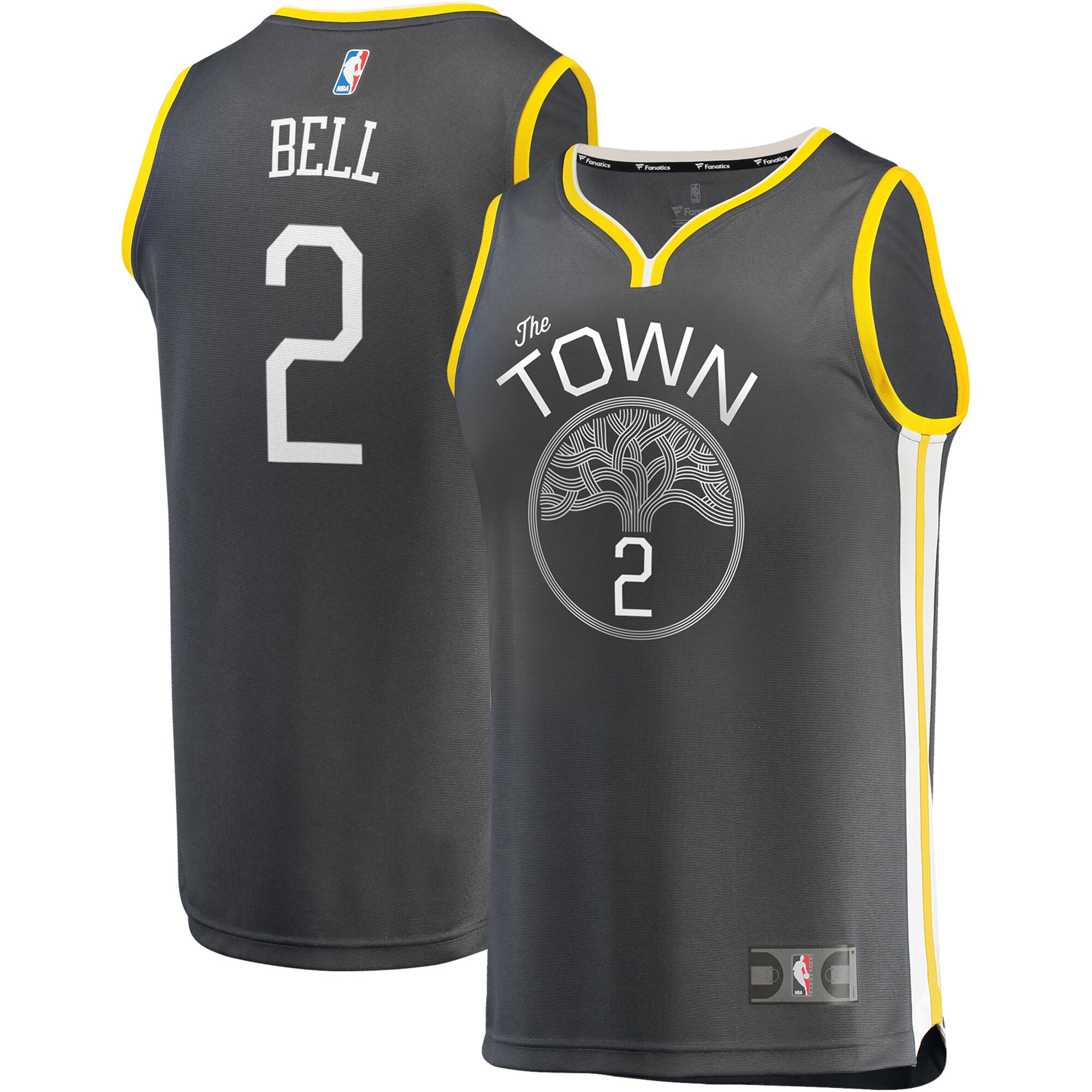 Jordan Bell Golden State Warriors Fanatics Branded Fast Break Replica Player Jersey Charcoal - Statement Edition