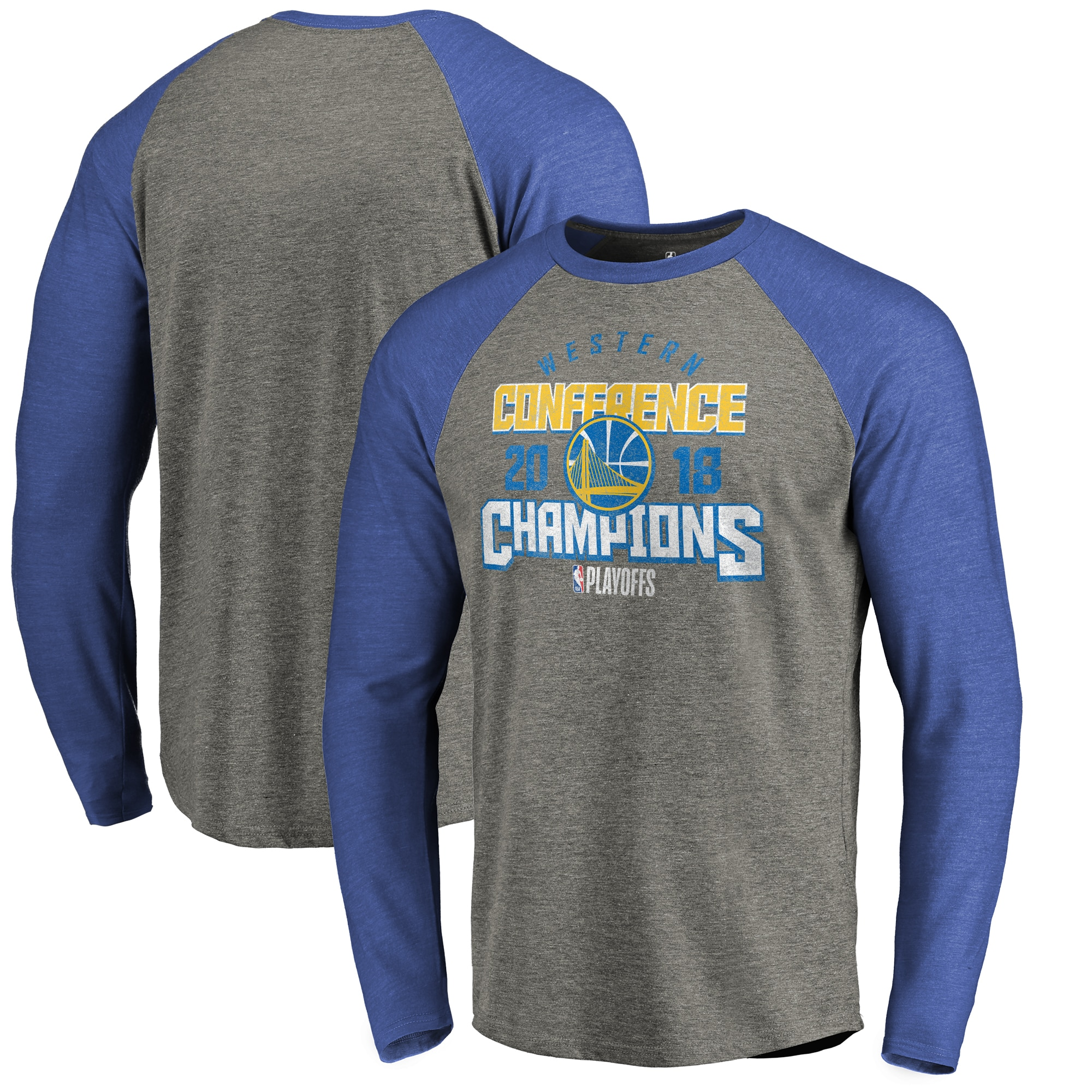 Golden State Warriors Fanatics Branded 2018 Western Conference Champions Catch and Shoot Tri-Blend Long Sleeve Raglan T-Shirt - Heather Gray