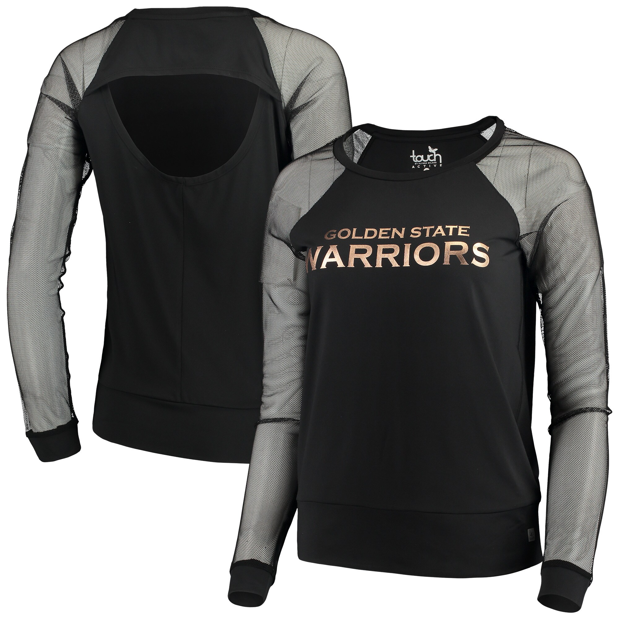 Golden State Warriors Touch by Alyssa Milano Women's Make the Cut Long Sleeve Top - Black