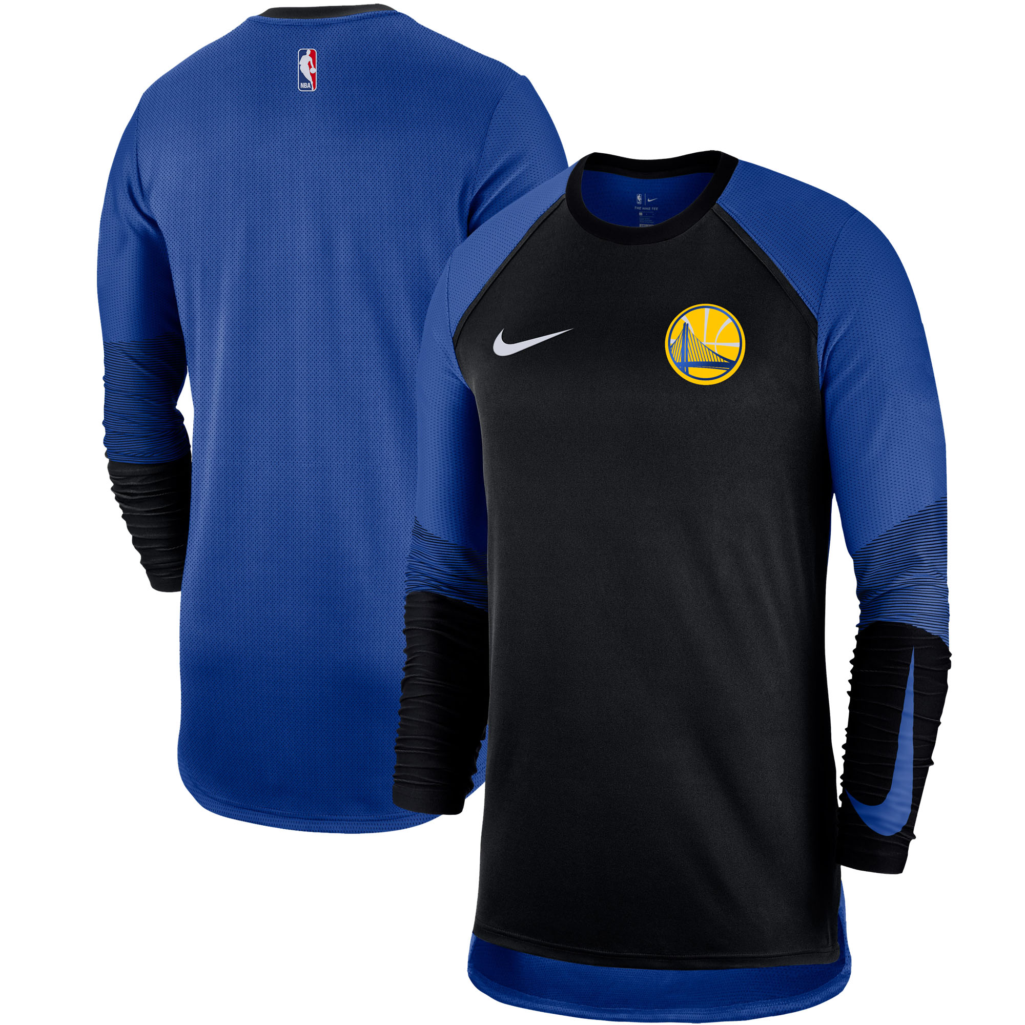 Golden State Warriors Nike Hyper Elite Performance Long Sleeve Shooting T-Shirt - Black/Royal