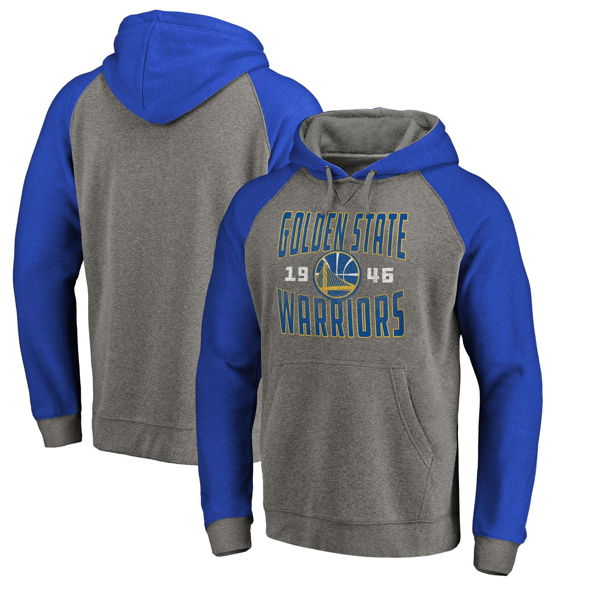 Golden State Warriors Fanatics Branded Ash Antique Stack Tri-Blend Raglan Pullover Hoodie