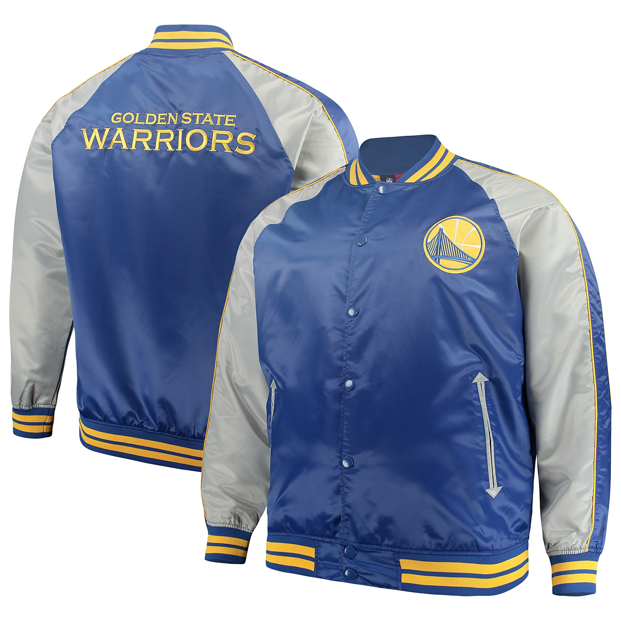 Golden State Warriors Majestic Big & Tall Lightweight Satin Full-Snap Jacket - Royal