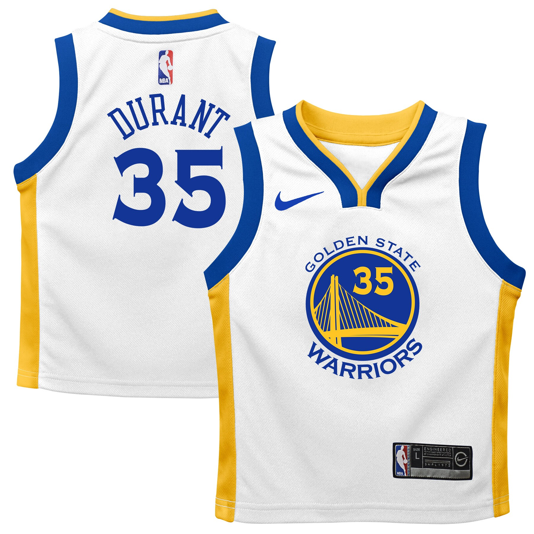 Kevin Durant Golden State Warriors Nike Preschool Replica Jersey White - Association Edition
