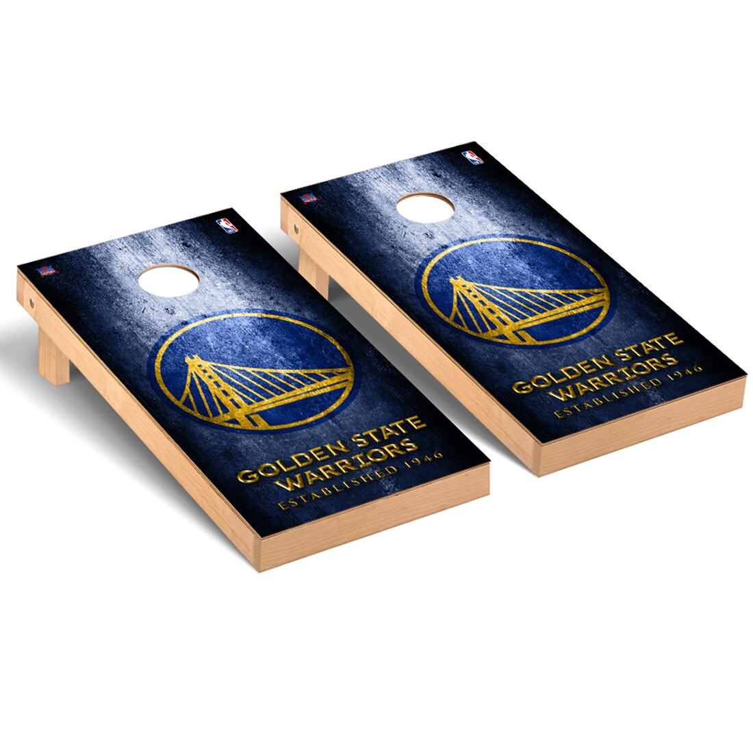 Golden State Warriors 2' x 4' Metal Museum Cornhole Board Tailgate Toss Set