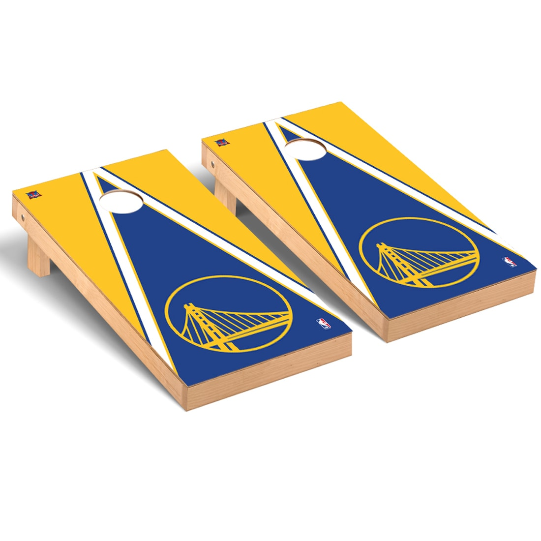 Golden State Warriors 2' x 4' Triangle Museum Cornhole Board Tailgate Toss Set
