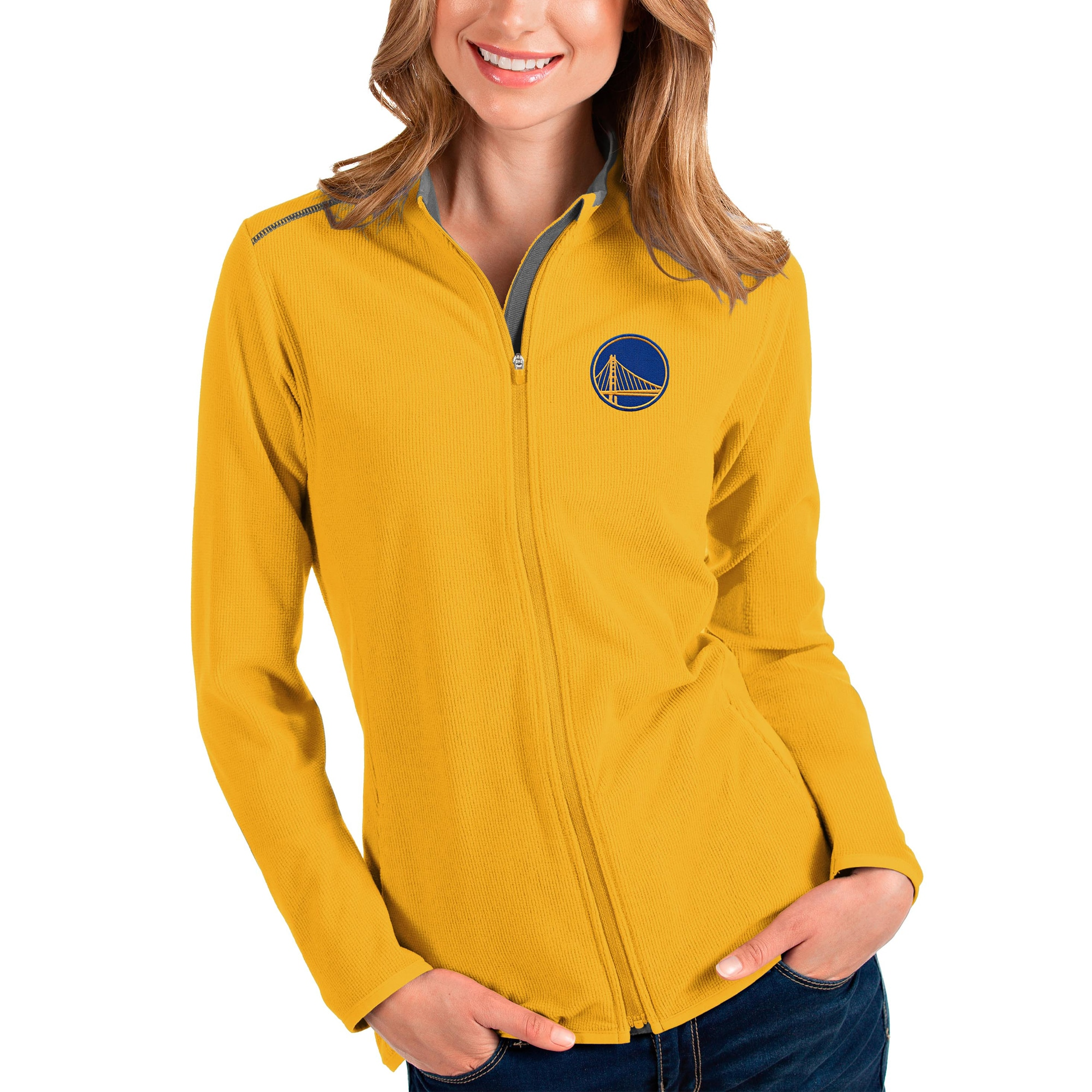 Golden State Warriors Antigua Women's Glacier Full-Zip Jacket - Gold/Gray