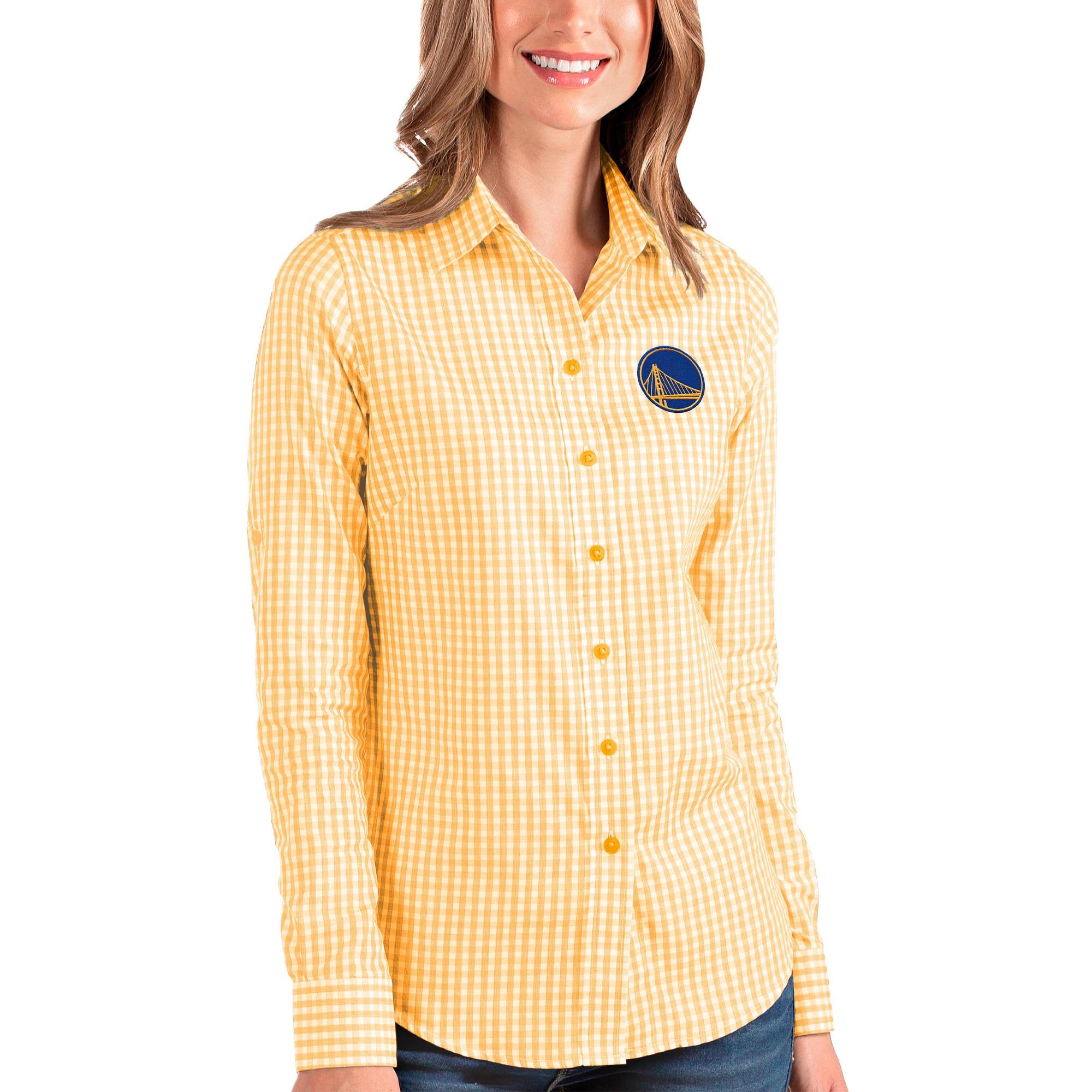 Golden State Warriors Antigua Women's Structure Button-Up Long Sleeve Shirt - Gold/White