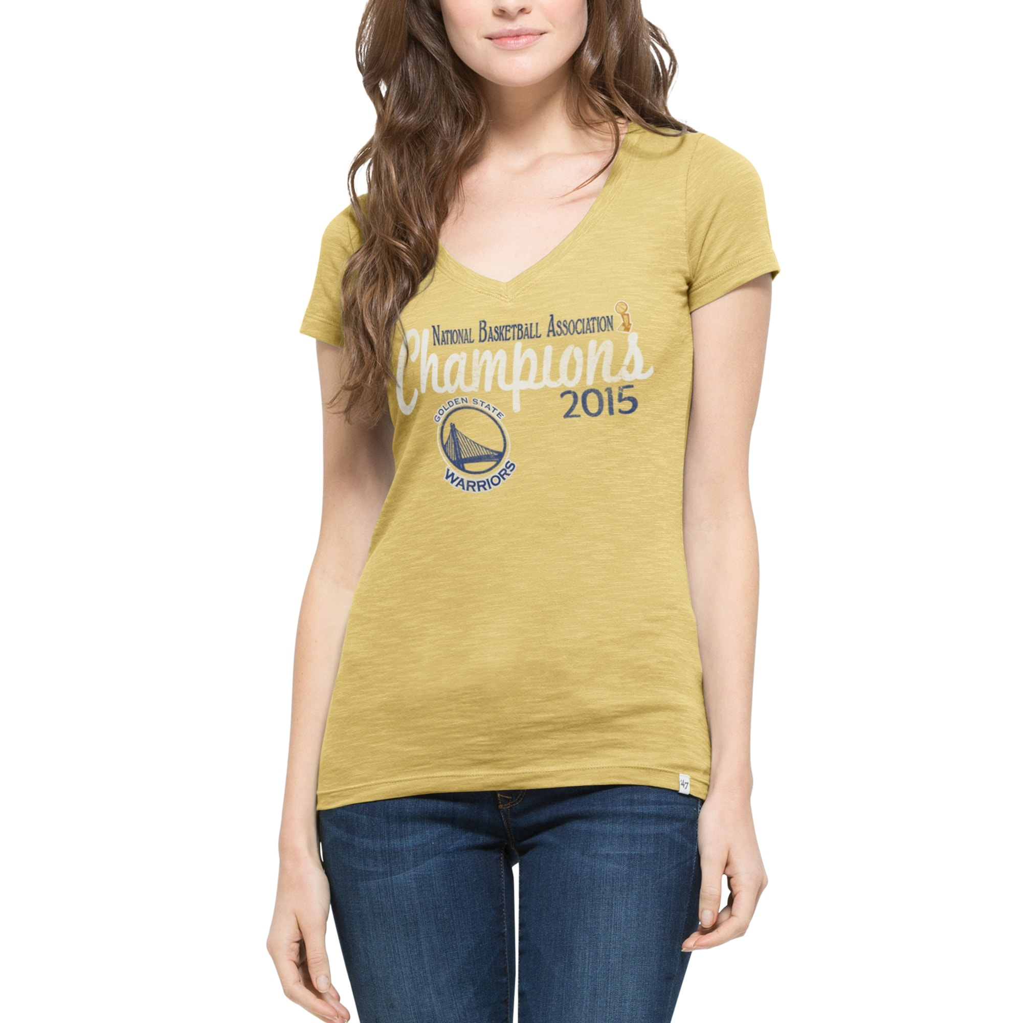 Golden State Warriors '47 Brand Women's 2015 NBA Finals Champions V-Neck Scrum T-Shirt - Gold