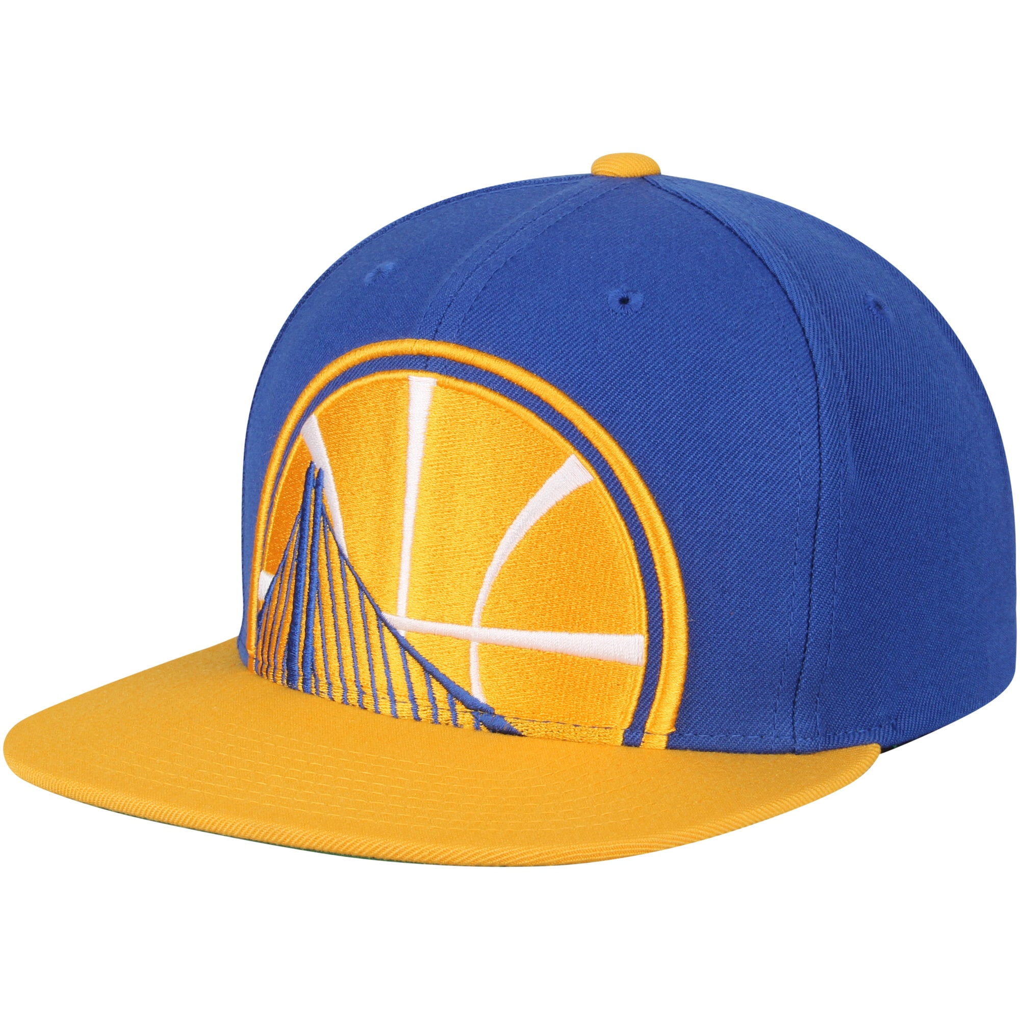 Golden State Warriors Mitchell & Ness Cropped XL Logo Adjustable Snapback Hat - Royal/Gold