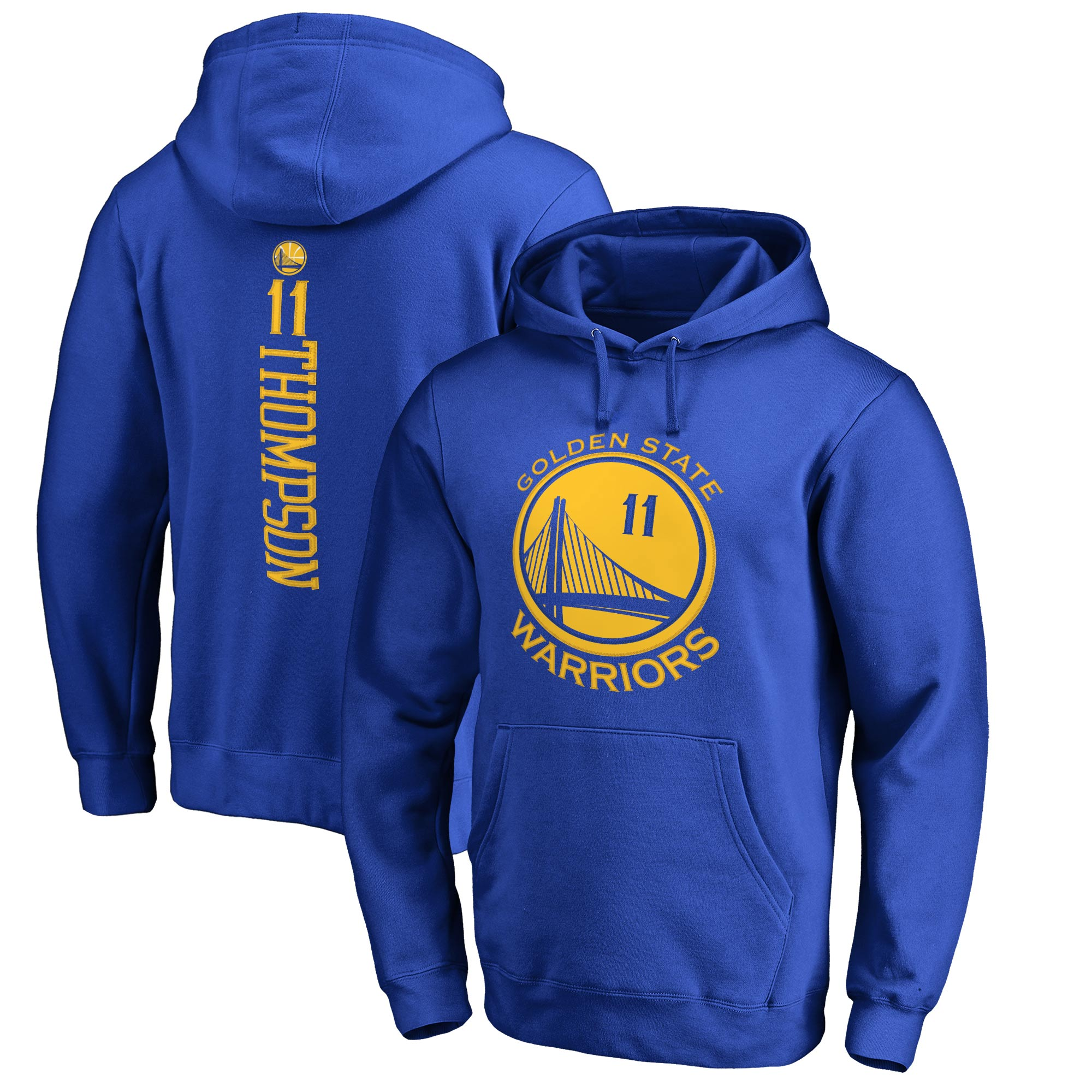 Klay Thompson Golden State Warriors Fanatics Branded Stacked Name & Number Pullover Hoodie - Royal