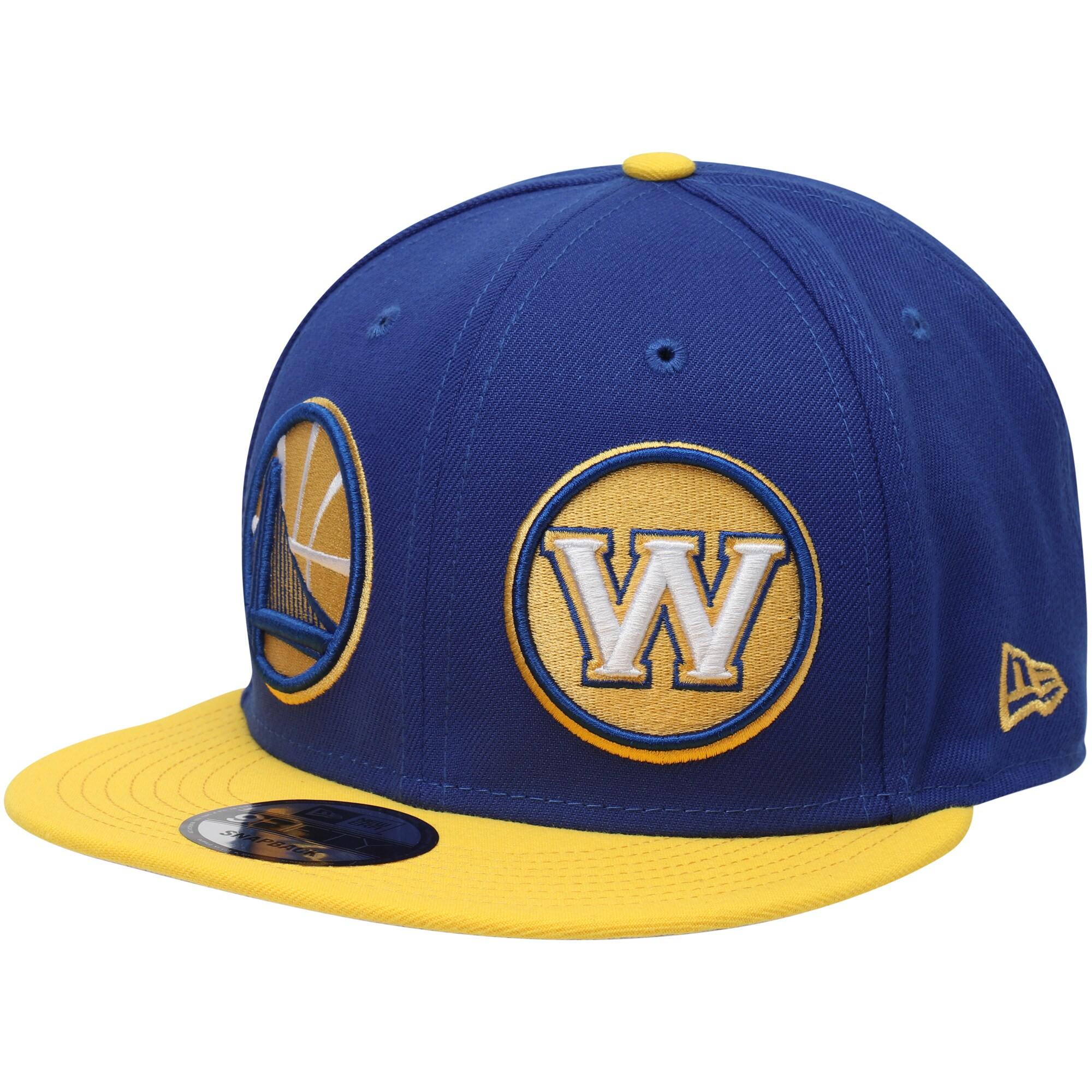 Golden State Warriors New Era Y2K Double Whammy 9FIFTY Adjustable Snapback Hat - Royal/Gold