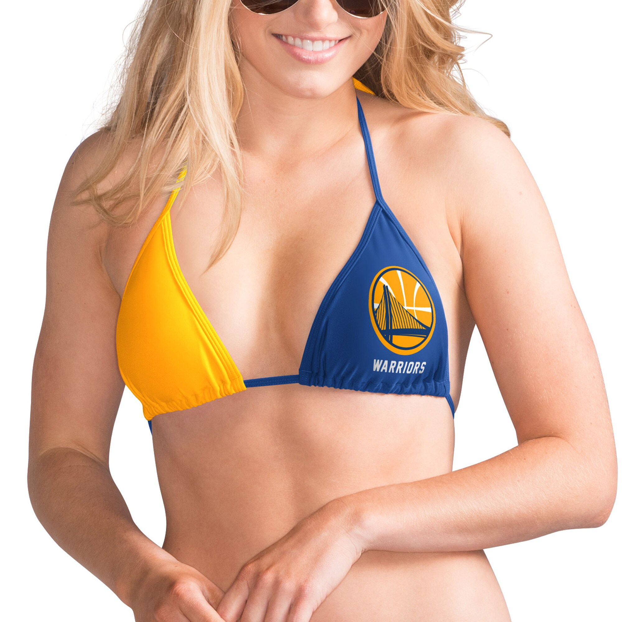 Golden State Warriors G-III 4Her by Carl Banks Women's Game Day Pickoff Bikini Top - Royal/Gold