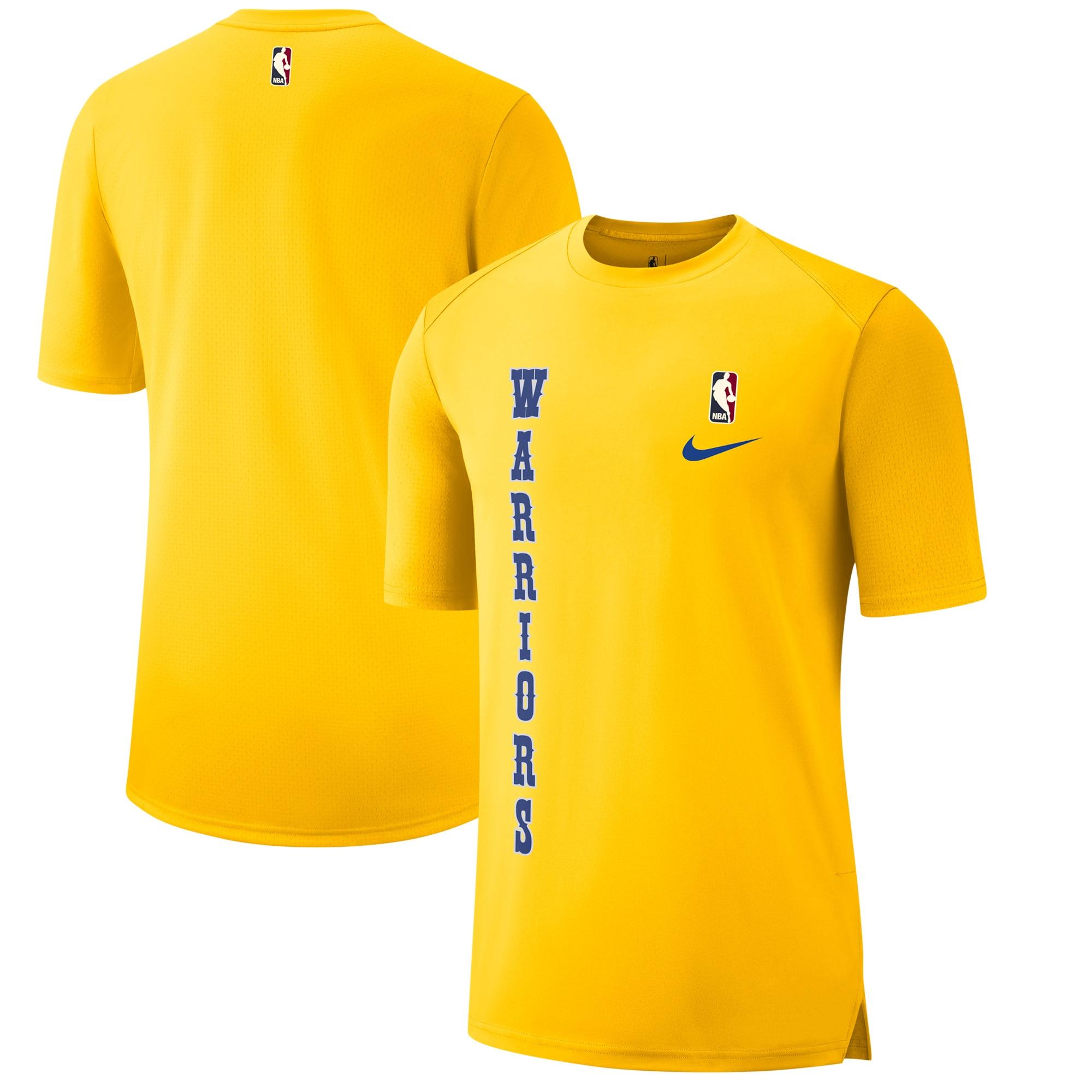 Golden State Warriors Nike Hardwood Classics Hyper Elite Shooting T-Shirt - Gold