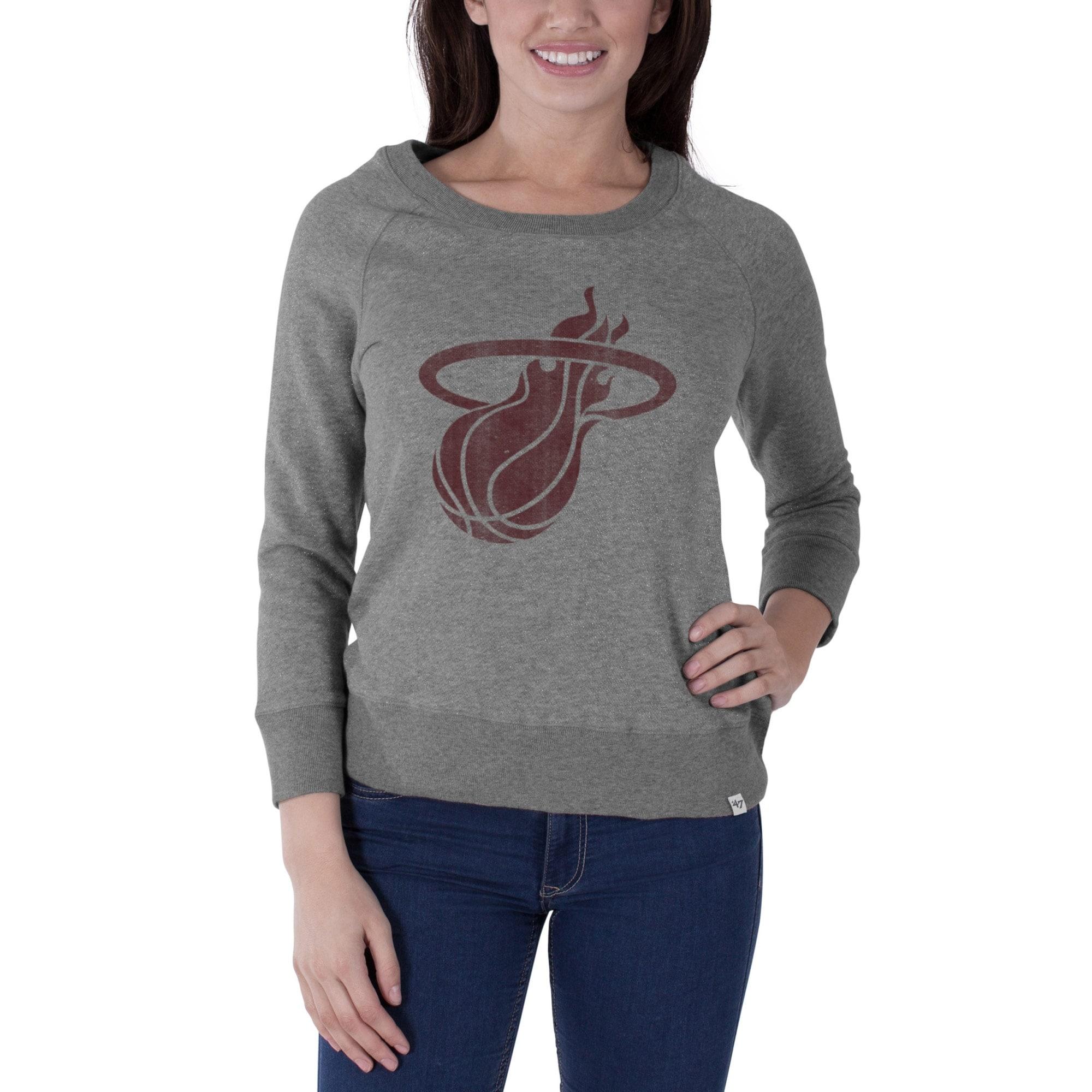 Miami Heat '47 Brand Women's Glimmer Crew Tri-Blend Sweatshirt - Gray