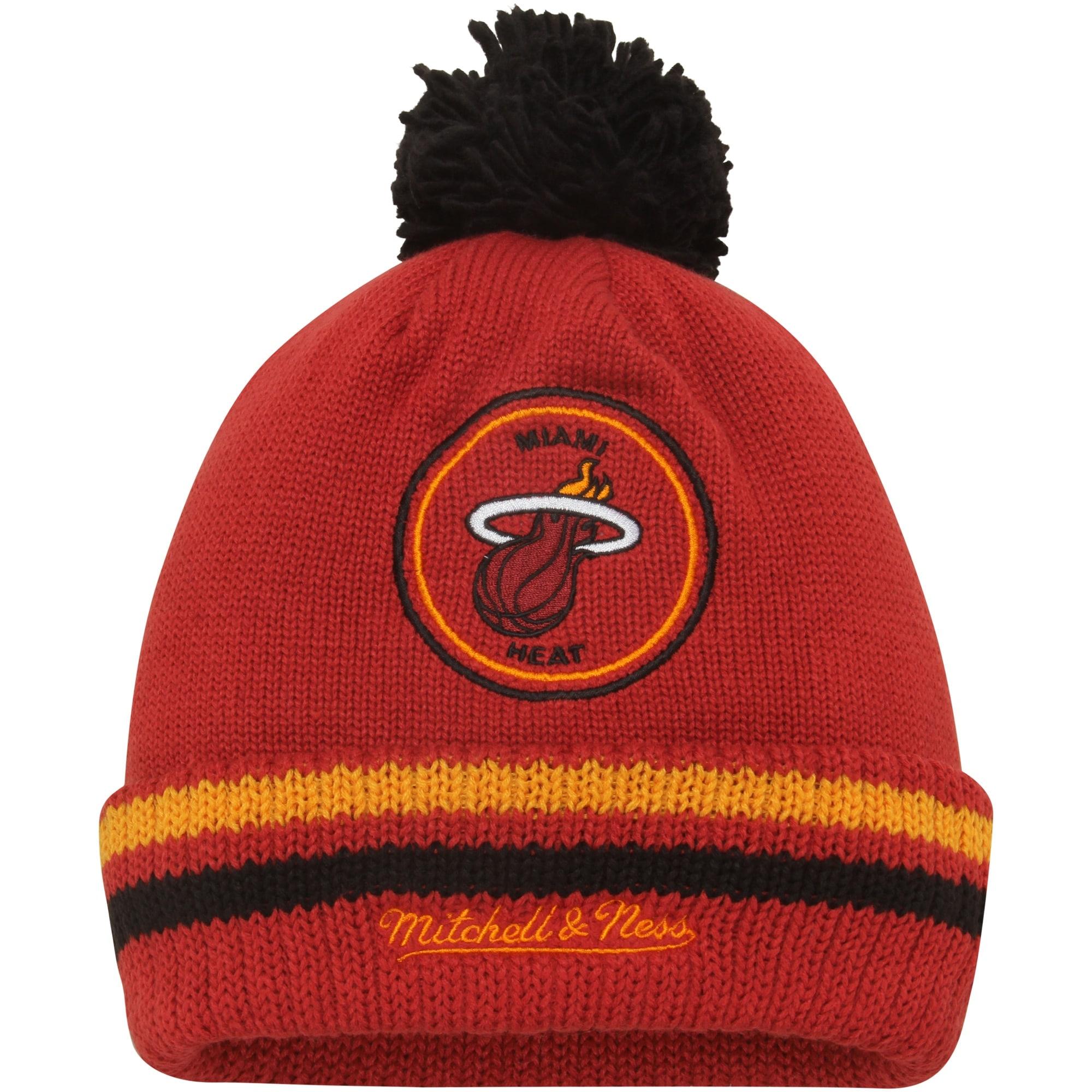 Miami Heat Mitchell & Ness Current Logo Big Man High 5 Cuffed Knit Hat - Red