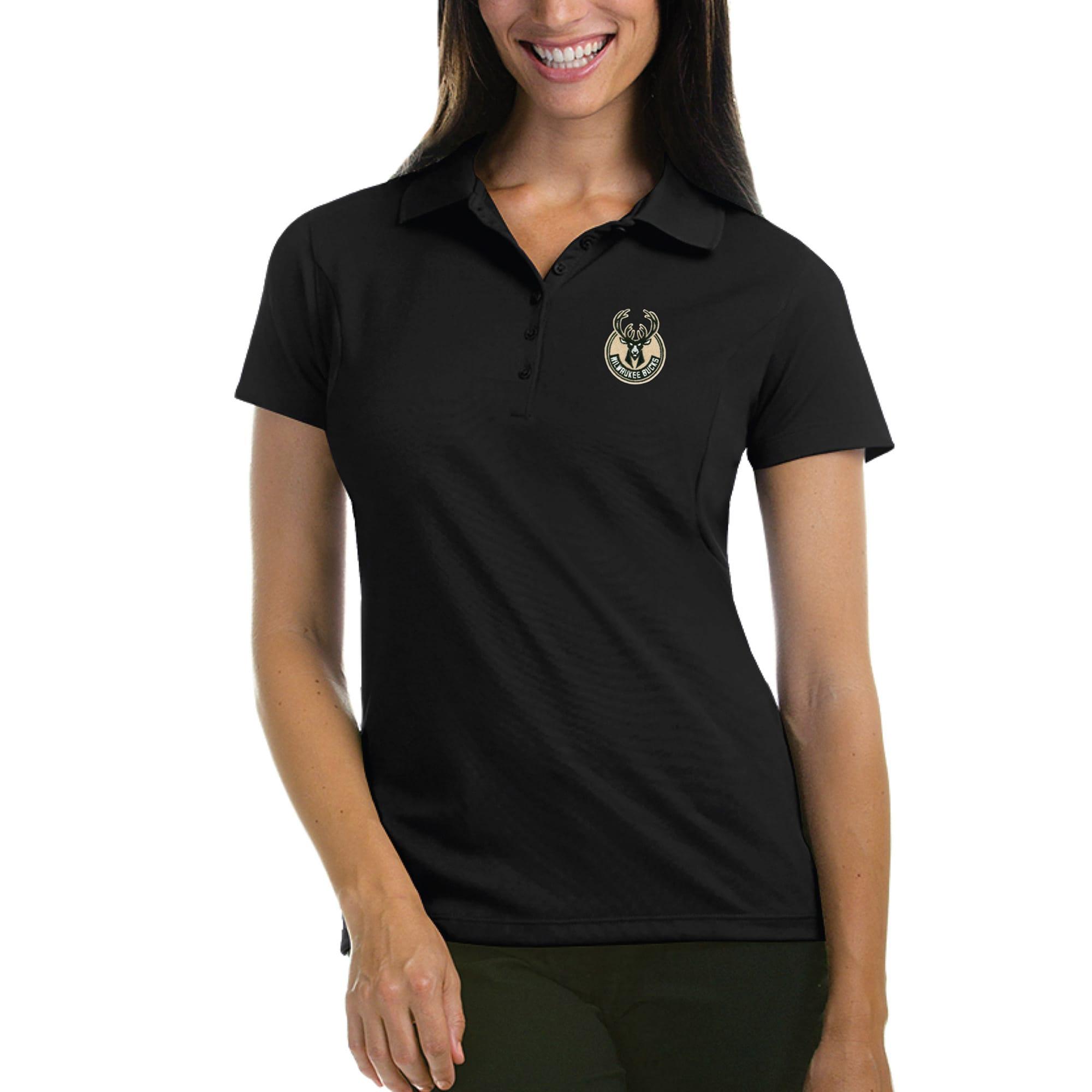 Milwaukee Bucks Antigua Women's Pique Xtra-Lite Polo - Black