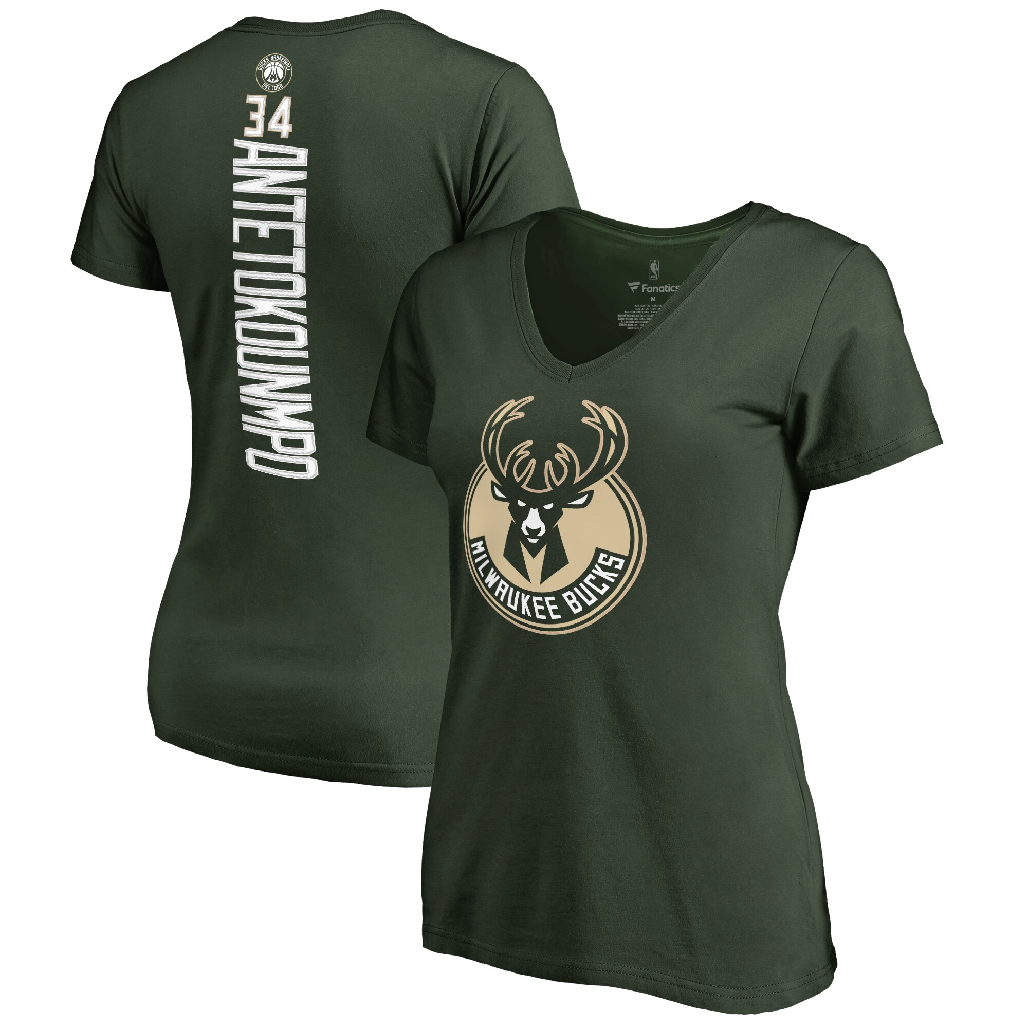 Giannis Antetokounmpo Milwaukee Bucks Women's Backer Classic Fit Name & Number V-Neck T-Shirt -Green