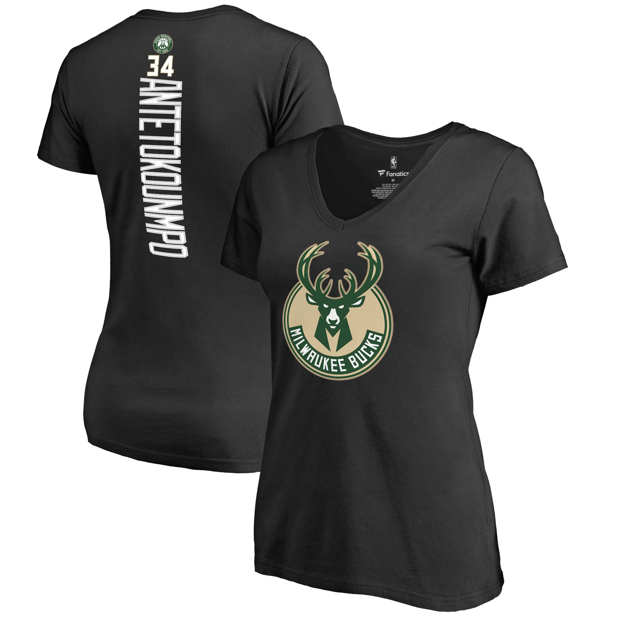 Giannis Antetokounmpo Milwaukee Bucks Women's Backer T-Shirt - Black
