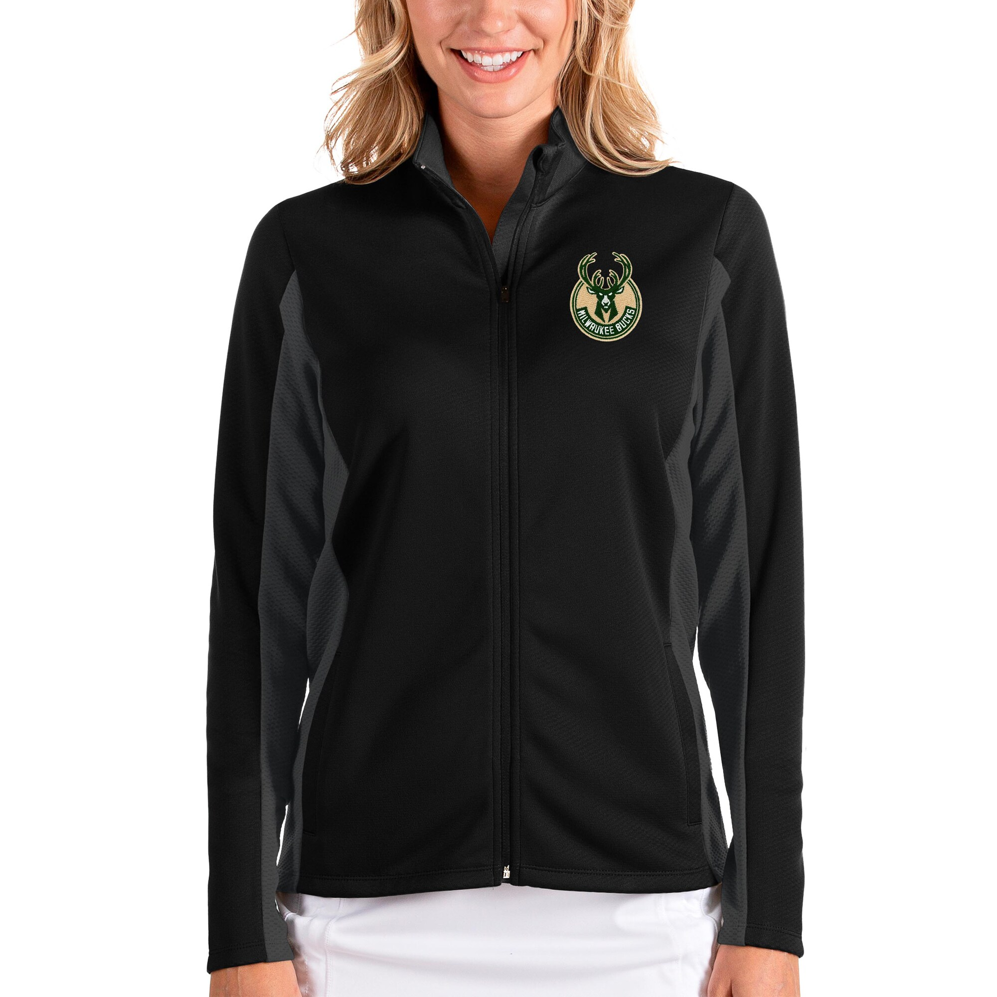 Milwaukee Bucks Antigua Women's Passage Full-Zip Jacket - Black/Charcoal
