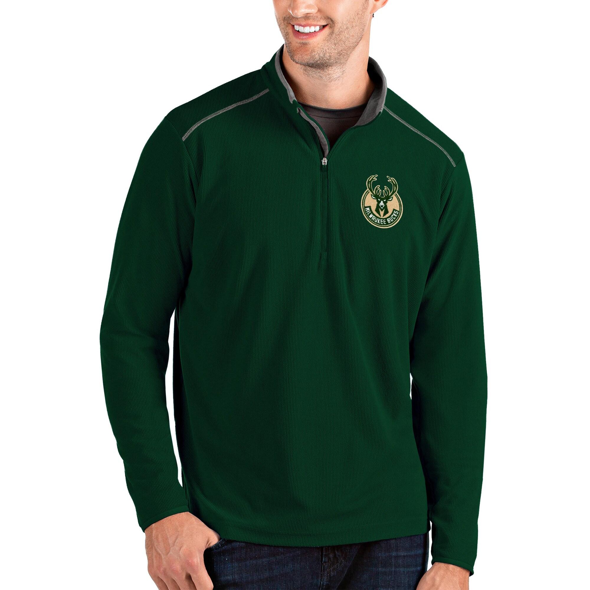 Milwaukee Bucks Antigua Glacier Quarter-Zip Pullover Jacket - Green/Gray