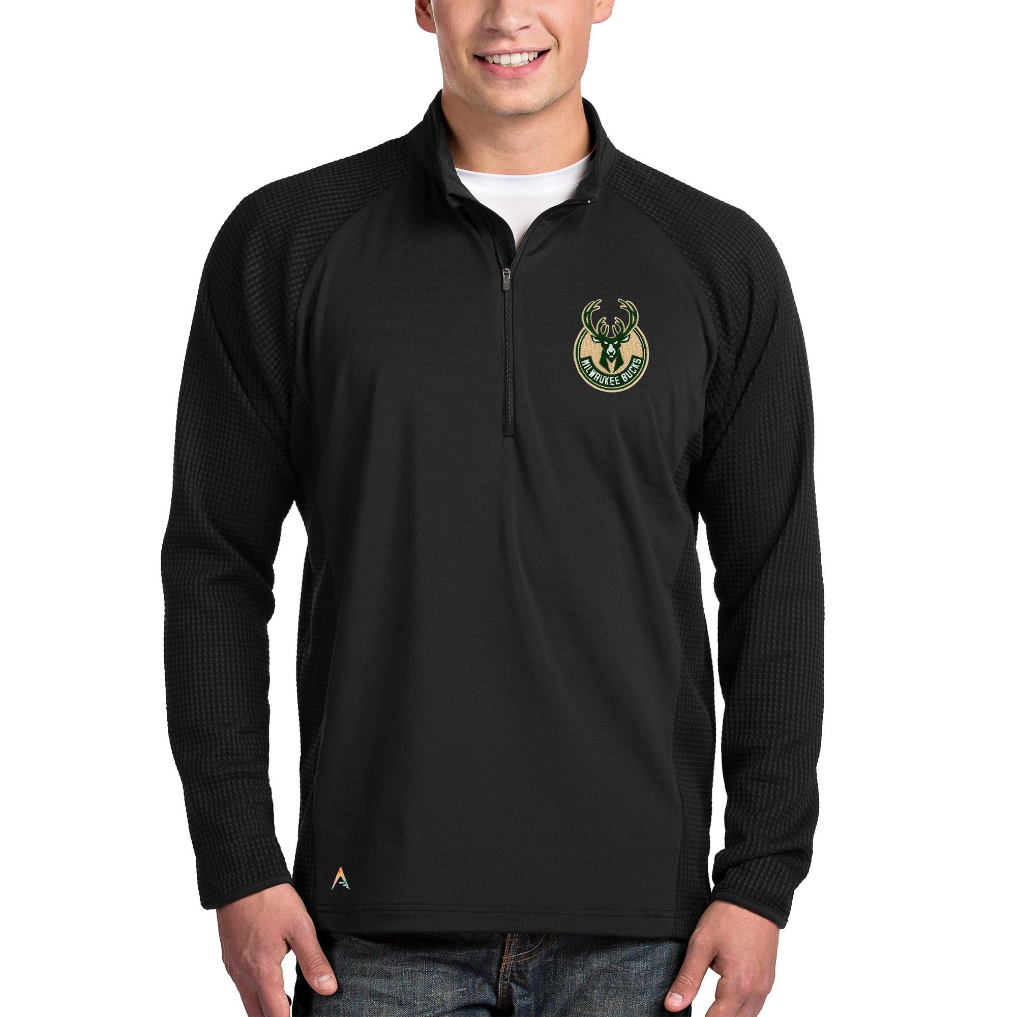 Milwaukee Bucks Antigua Sonar Quarter-Zip Pullover Jacket - Black