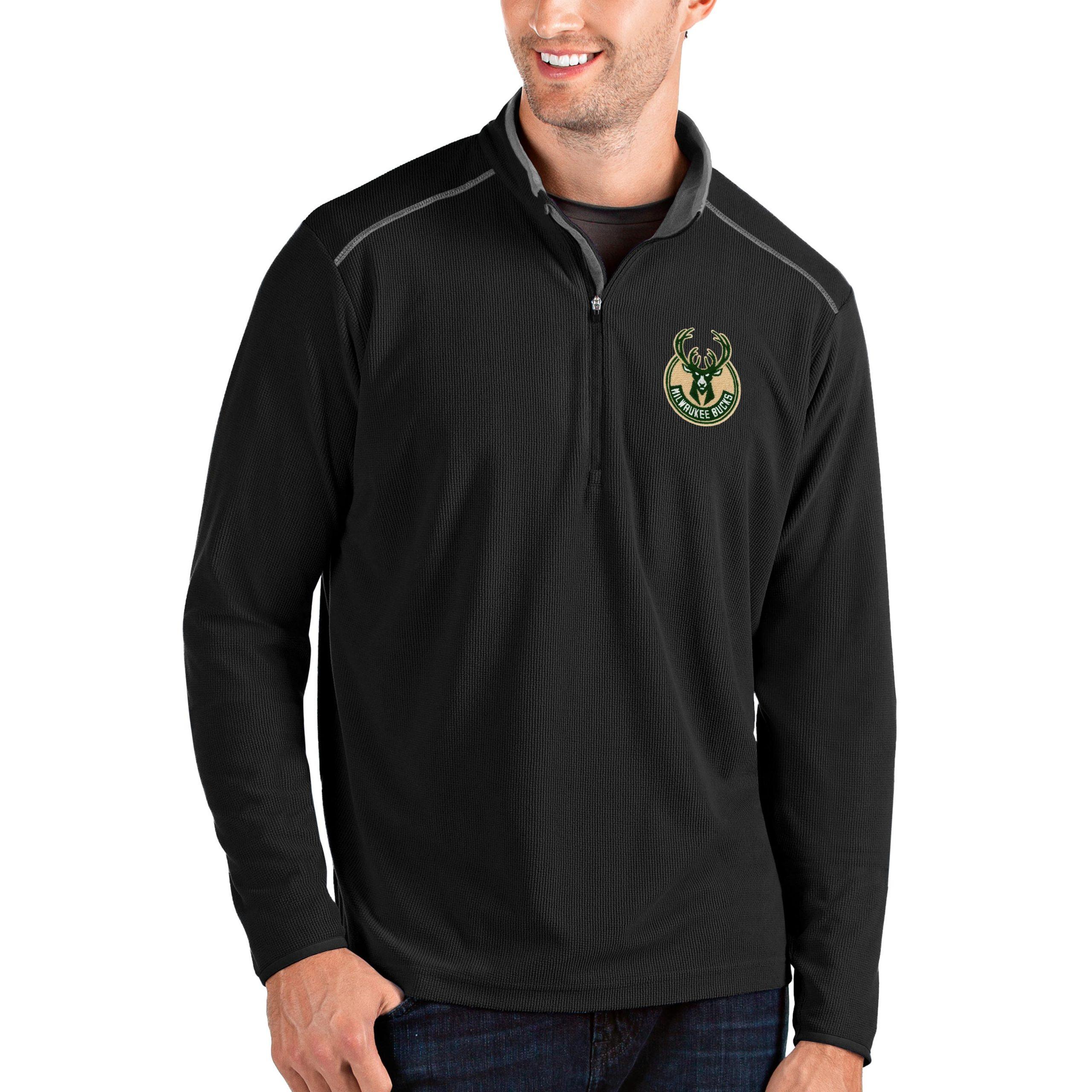 Milwaukee Bucks Antigua Big & Tall Glacier Quarter-Zip Pullover Jacket - Black/Gray